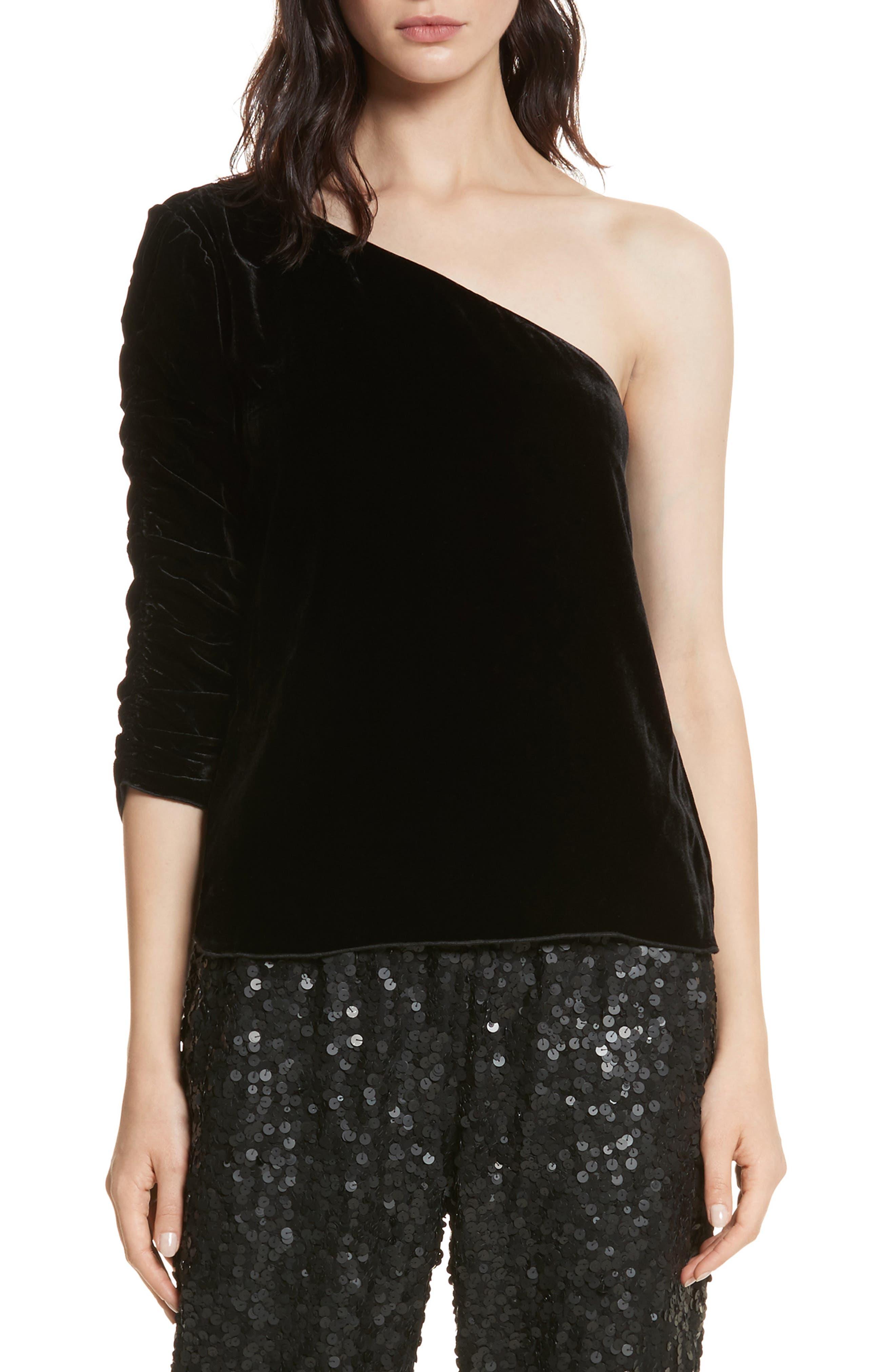 One-Shoulder Velvet Top, Main, color, 002