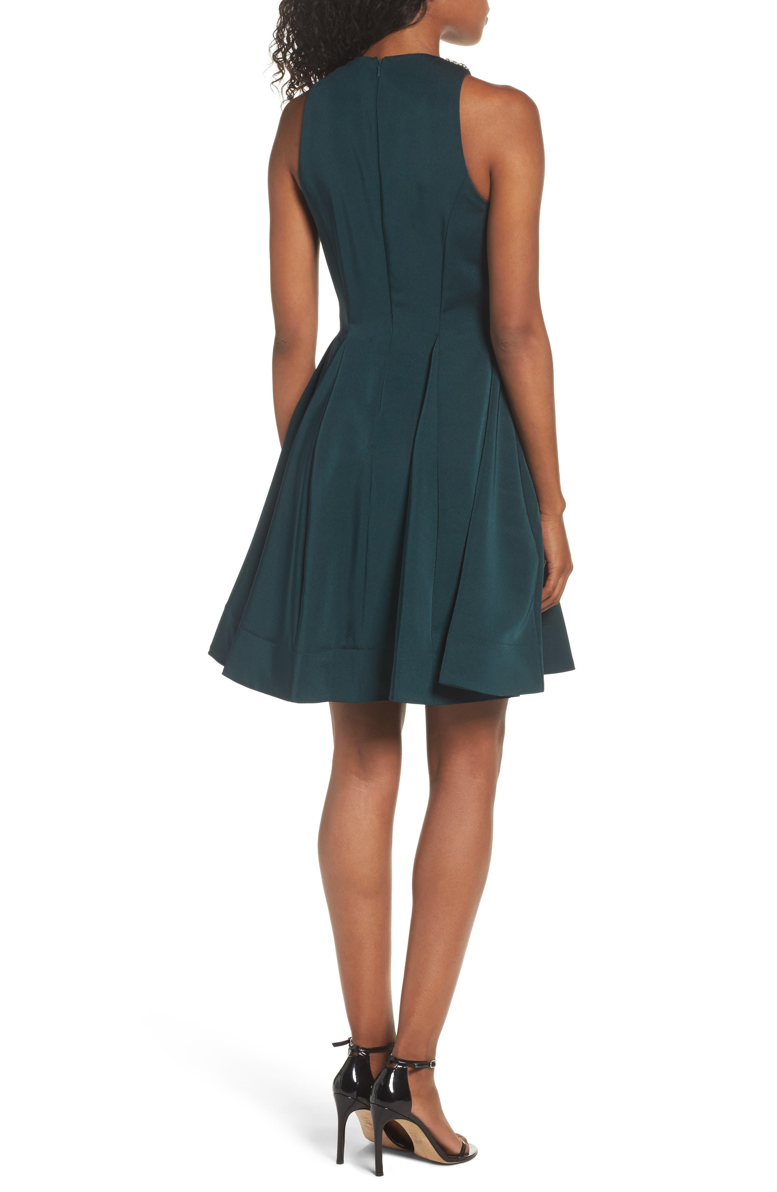 Embellished Fit & Flare Dress,                             Alternate thumbnail 2, color,                             EMERALD