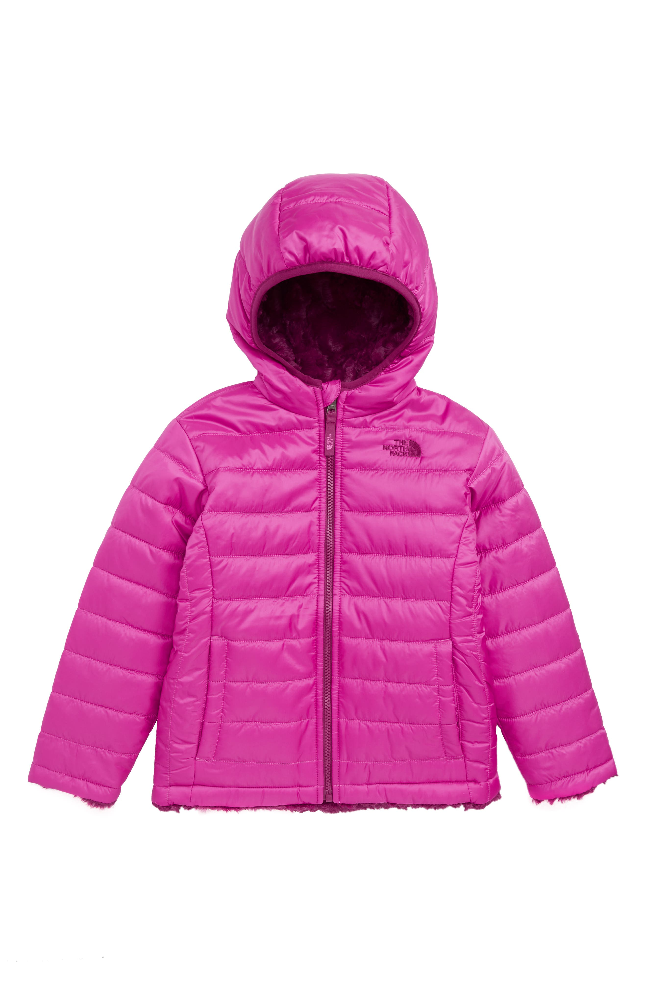 Mossbud Swirl Insulated Reversible Jacket,                         Main,                         color, AZALEA PINK/ DRAMATIC PLUM