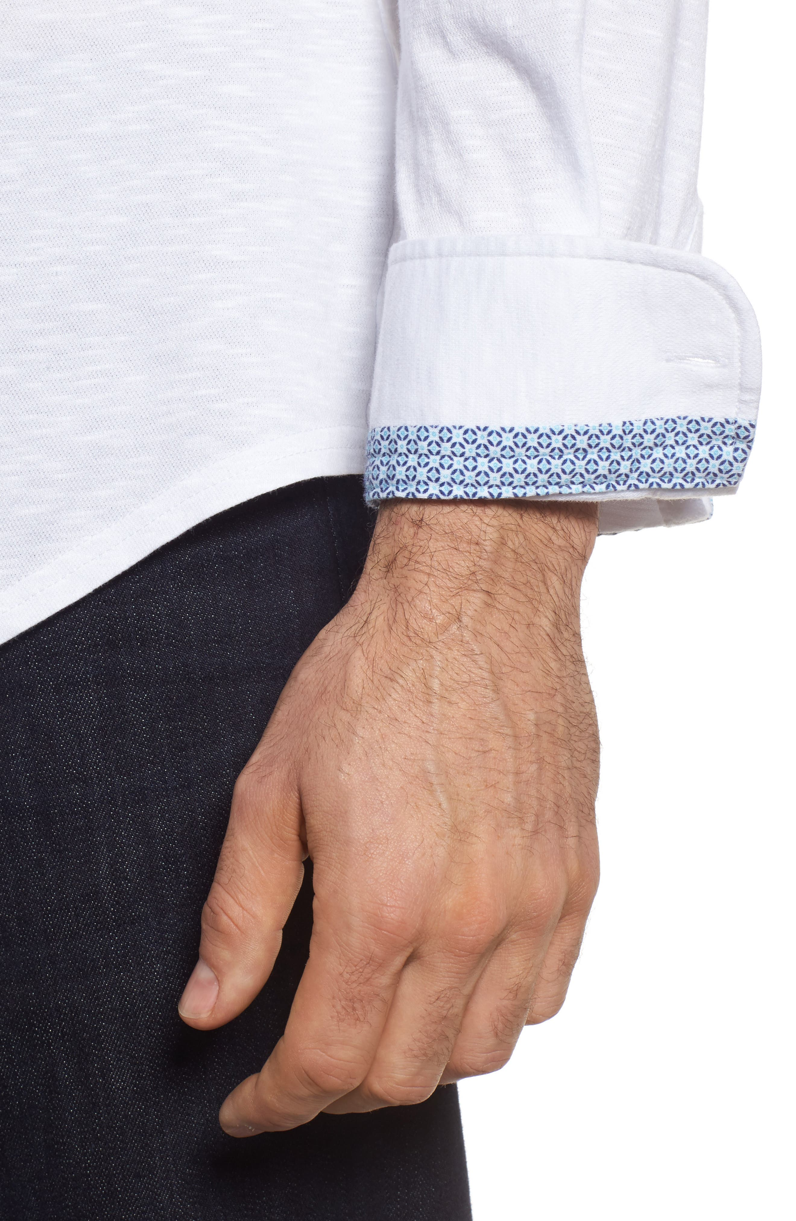 Slub Knit Sport Shirt,                             Alternate thumbnail 4, color,                             100