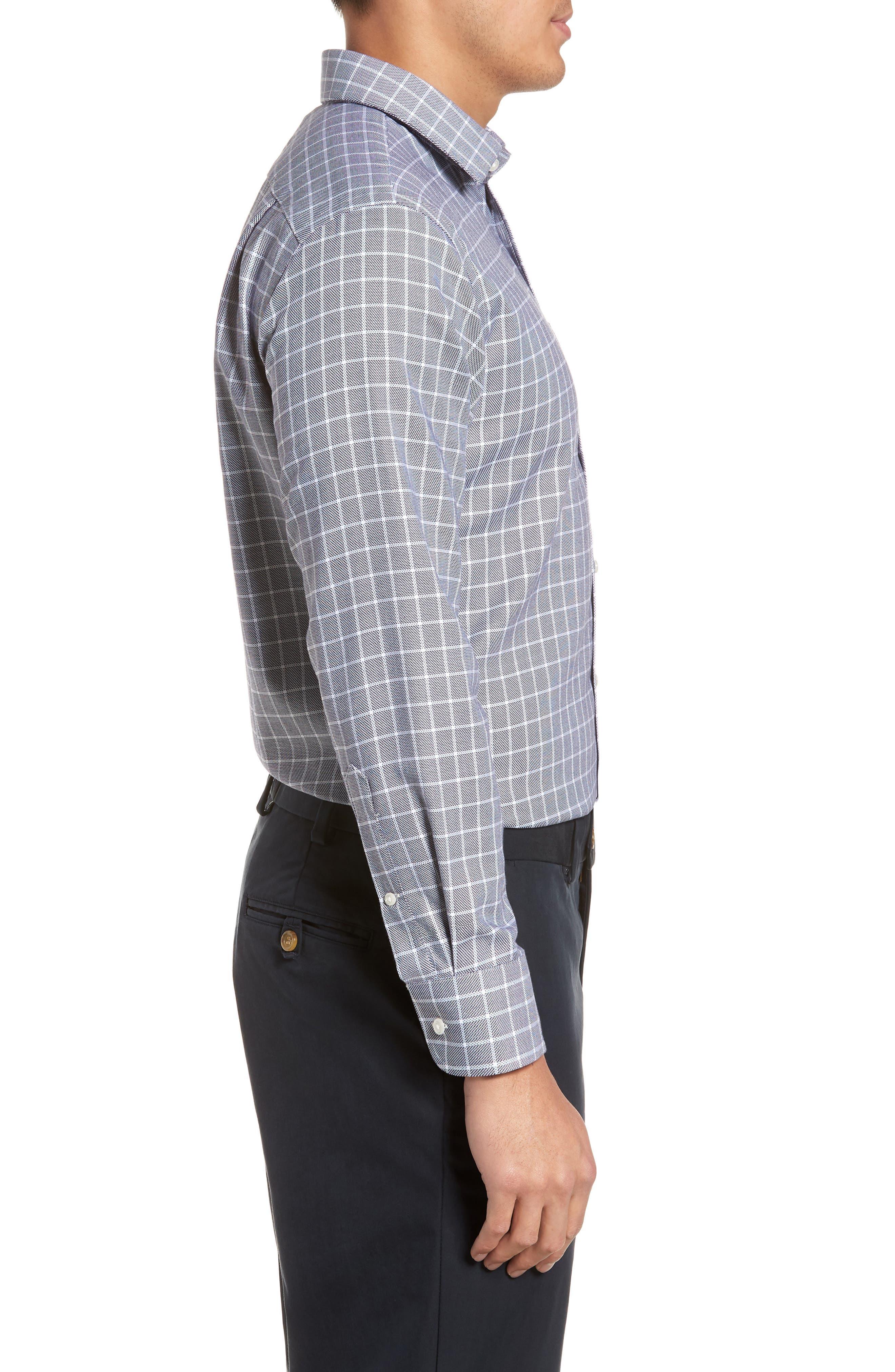 Trim Fit Non-Iron Check Dress Shirt,                             Alternate thumbnail 4, color,                             001