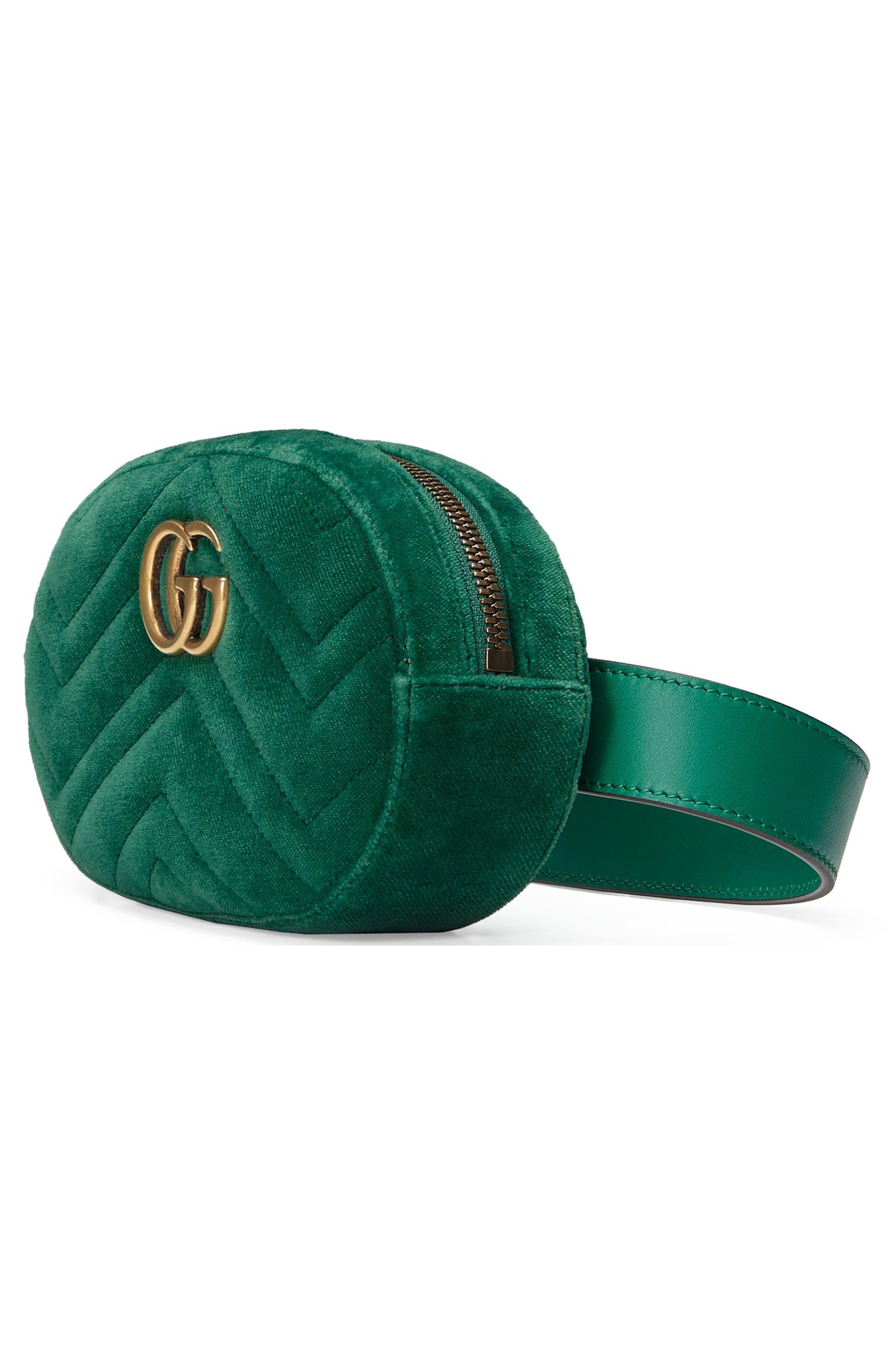 Small GG Marmont 2.0 Velvet Belt Bag,                             Alternate thumbnail 4, color,                             EMERALD/ EMERALD