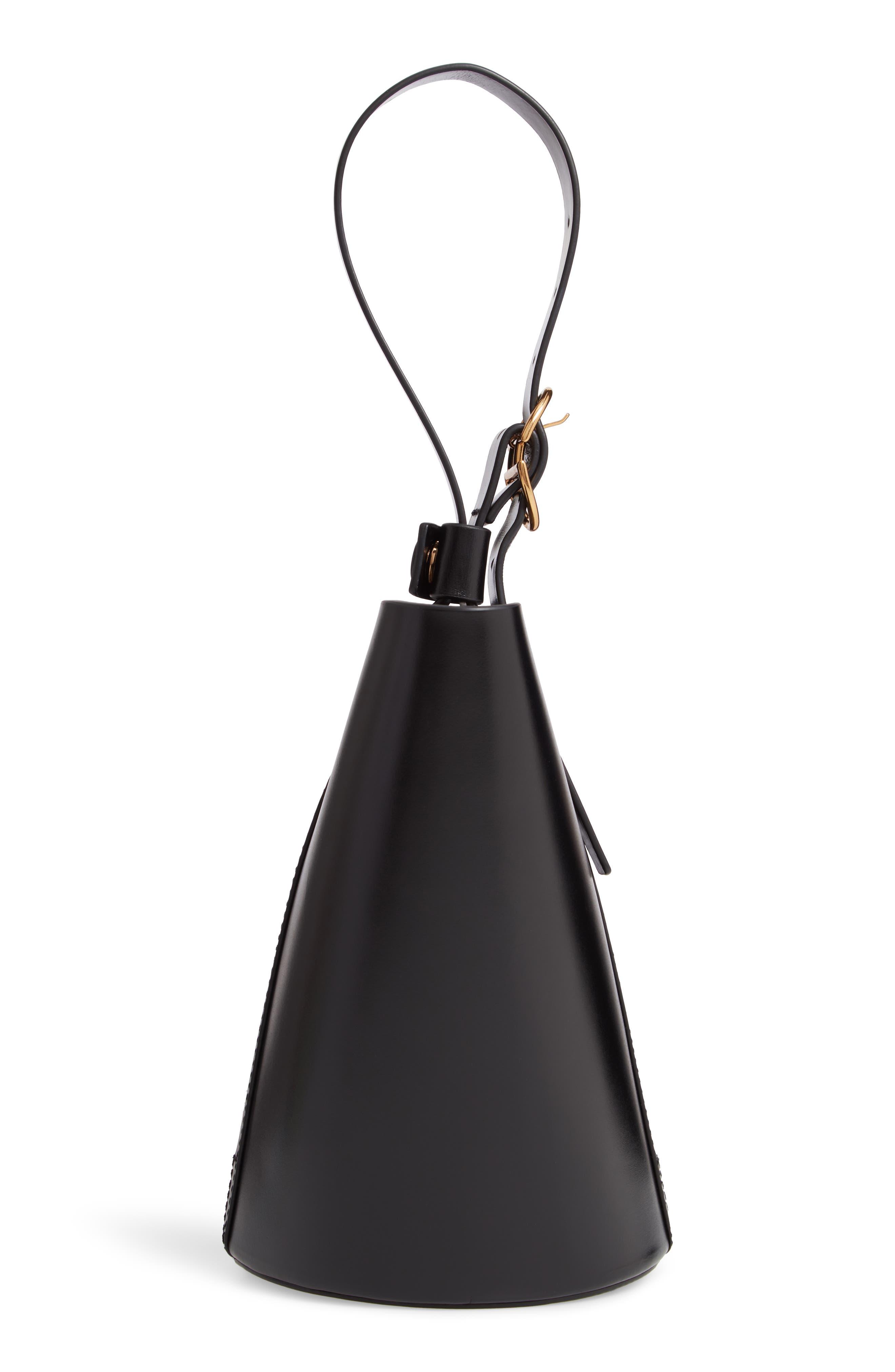 Small Leather Bucket Bag,                             Alternate thumbnail 5, color,                             BLACK