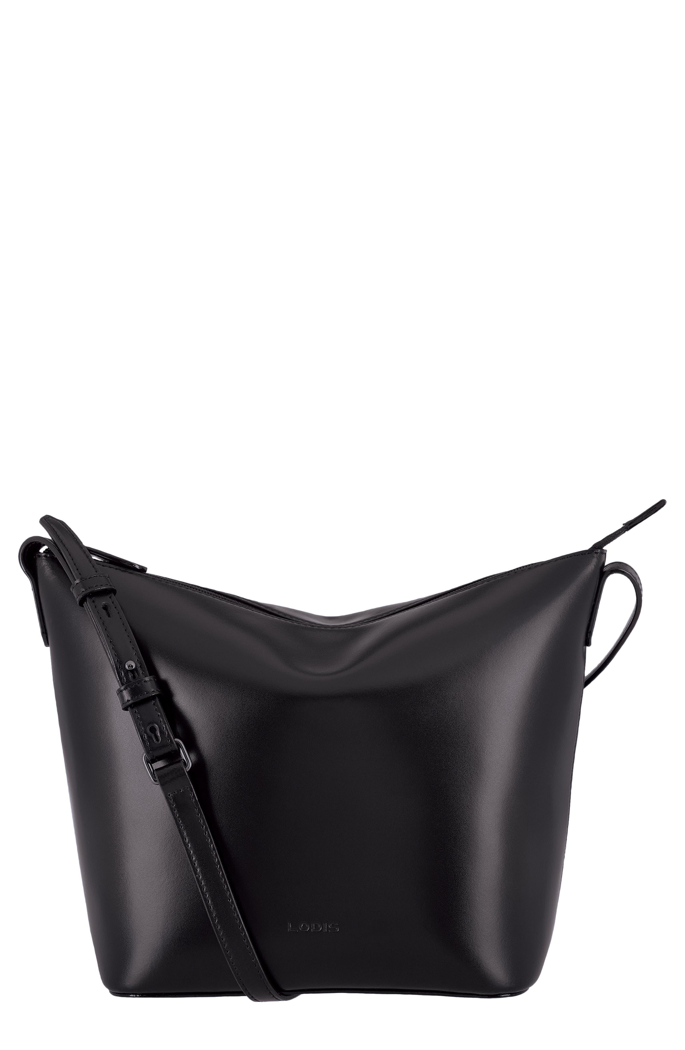 Camilla RFID Leather Crossbody Bucket Bag,                             Main thumbnail 1, color,                             BLACK/ BLACK