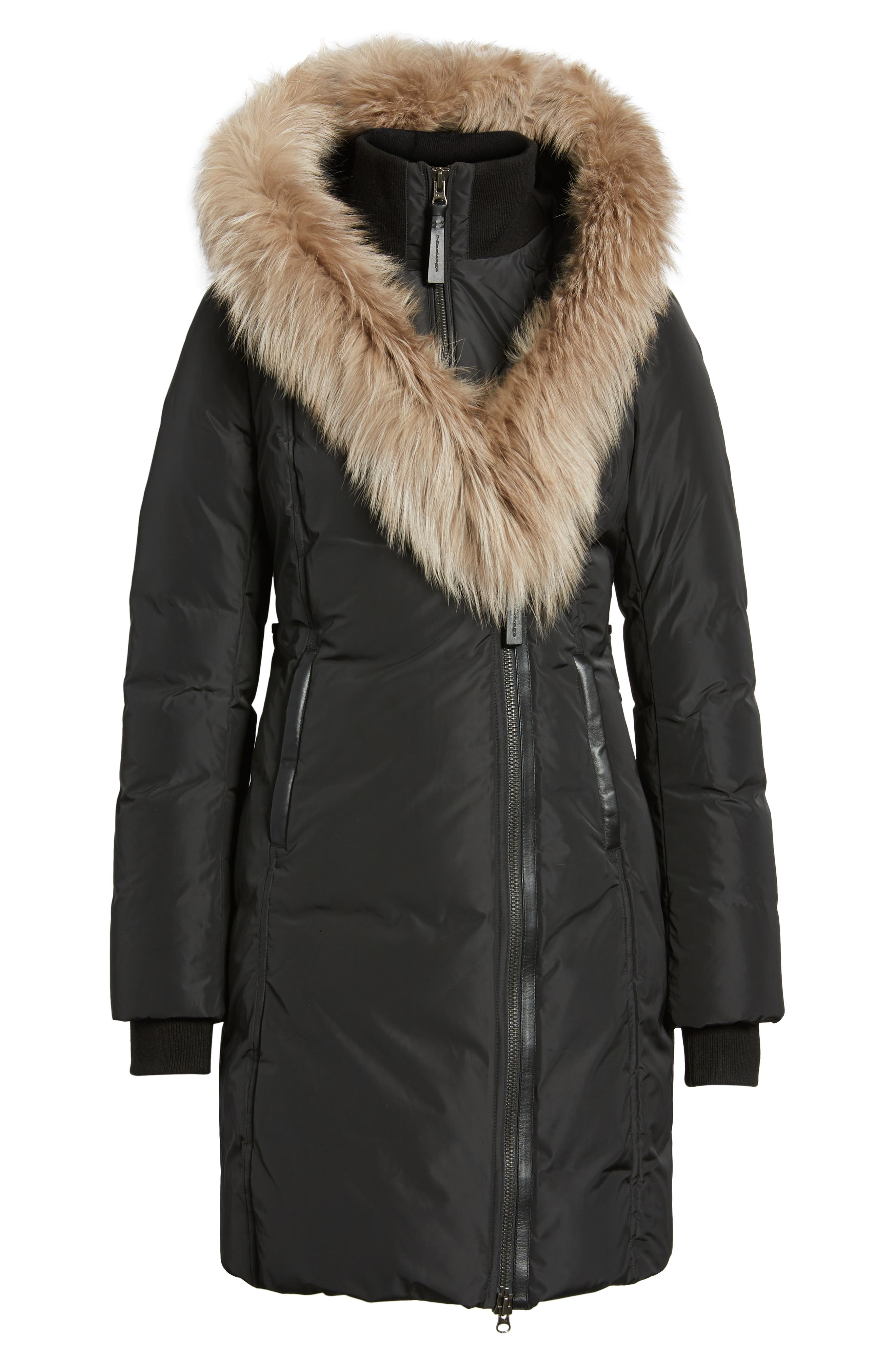 MACKAGE,                             800 Fill Power Down Coat with Genuine Fox Fur Trim,                             Alternate thumbnail 6, color,                             001