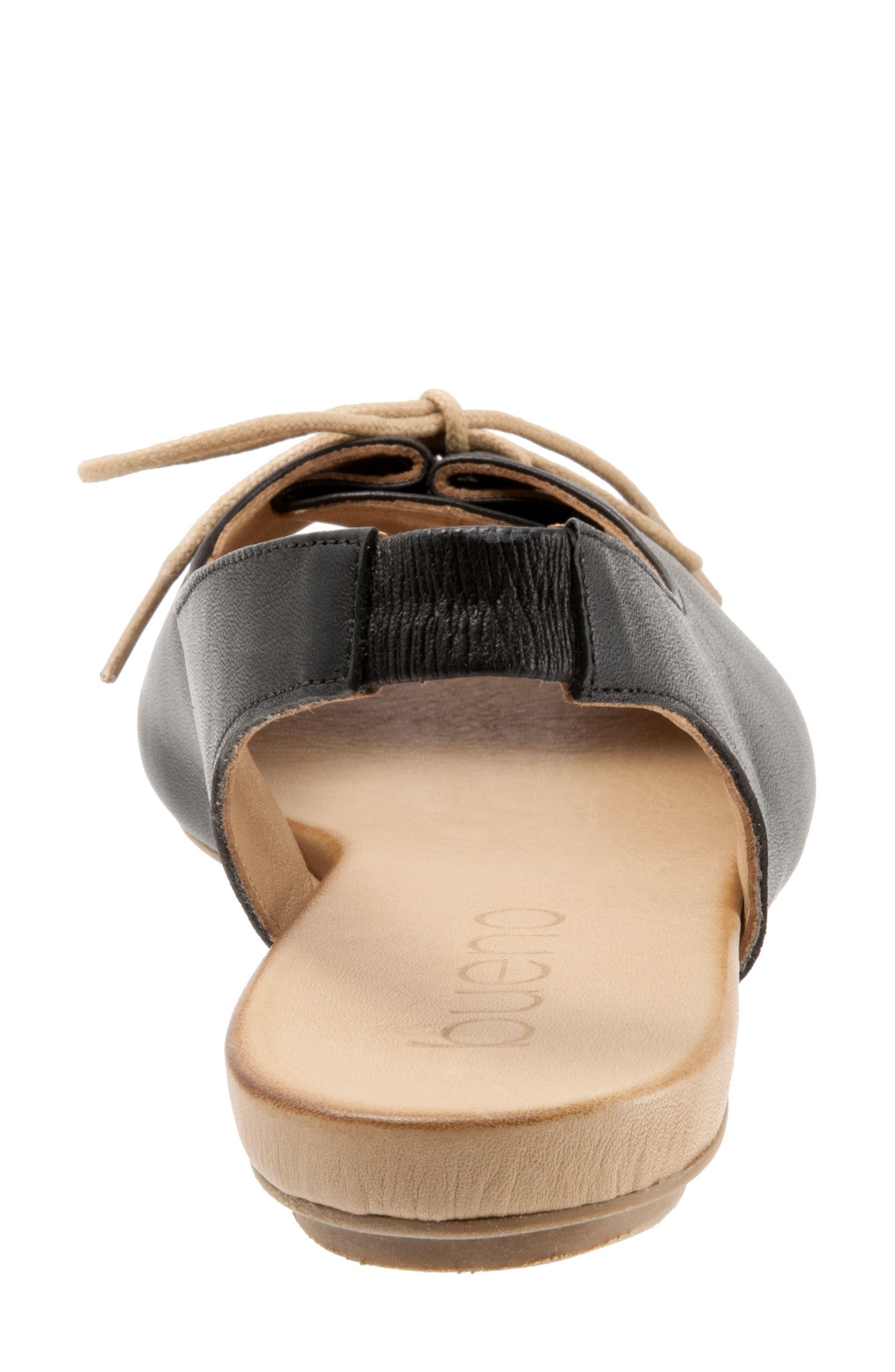 Keely Slingback Tie Sandal,                             Alternate thumbnail 7, color,                             BLACK LEATHER