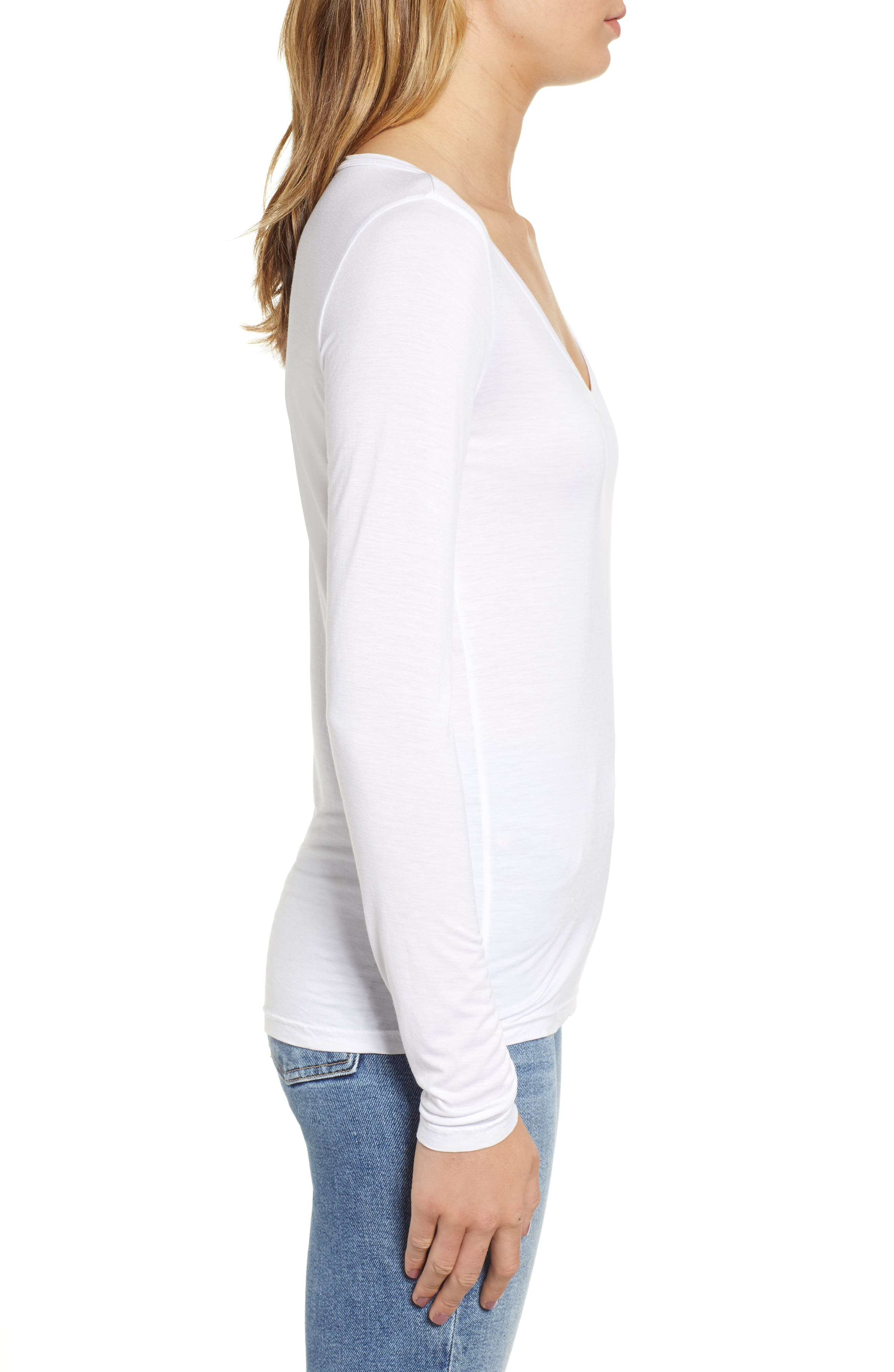 Scoop Neck Jersey Tee,                             Alternate thumbnail 3, color,                             WHITE