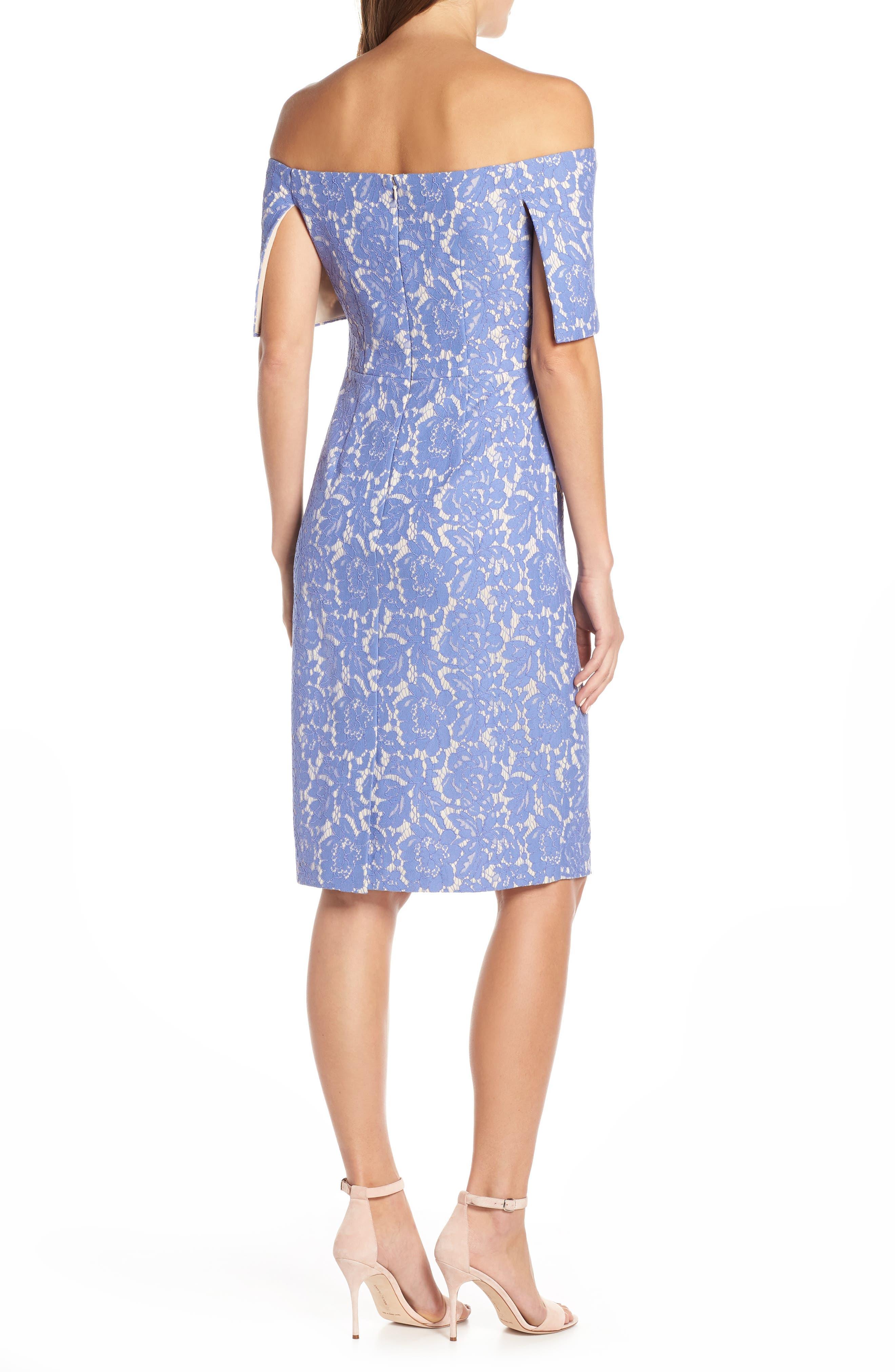 VINCE CAMUTO,                             Off the Shoulder Lace Sheath Dress,                             Alternate thumbnail 2, color,                             PERIWINKLE