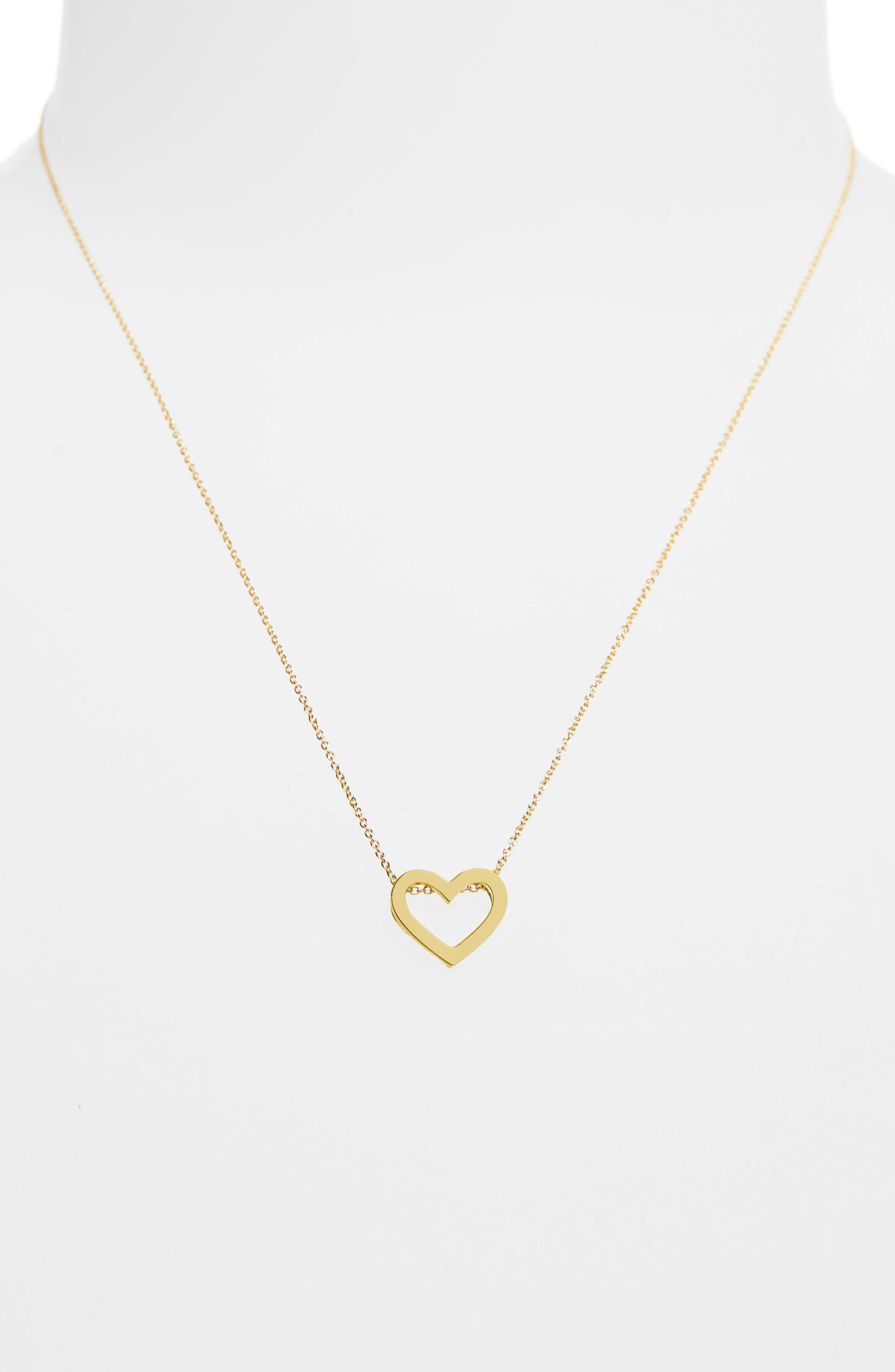 ROBERTO COIN,                             Gold Open Heart Necklace,                             Alternate thumbnail 2, color,                             701