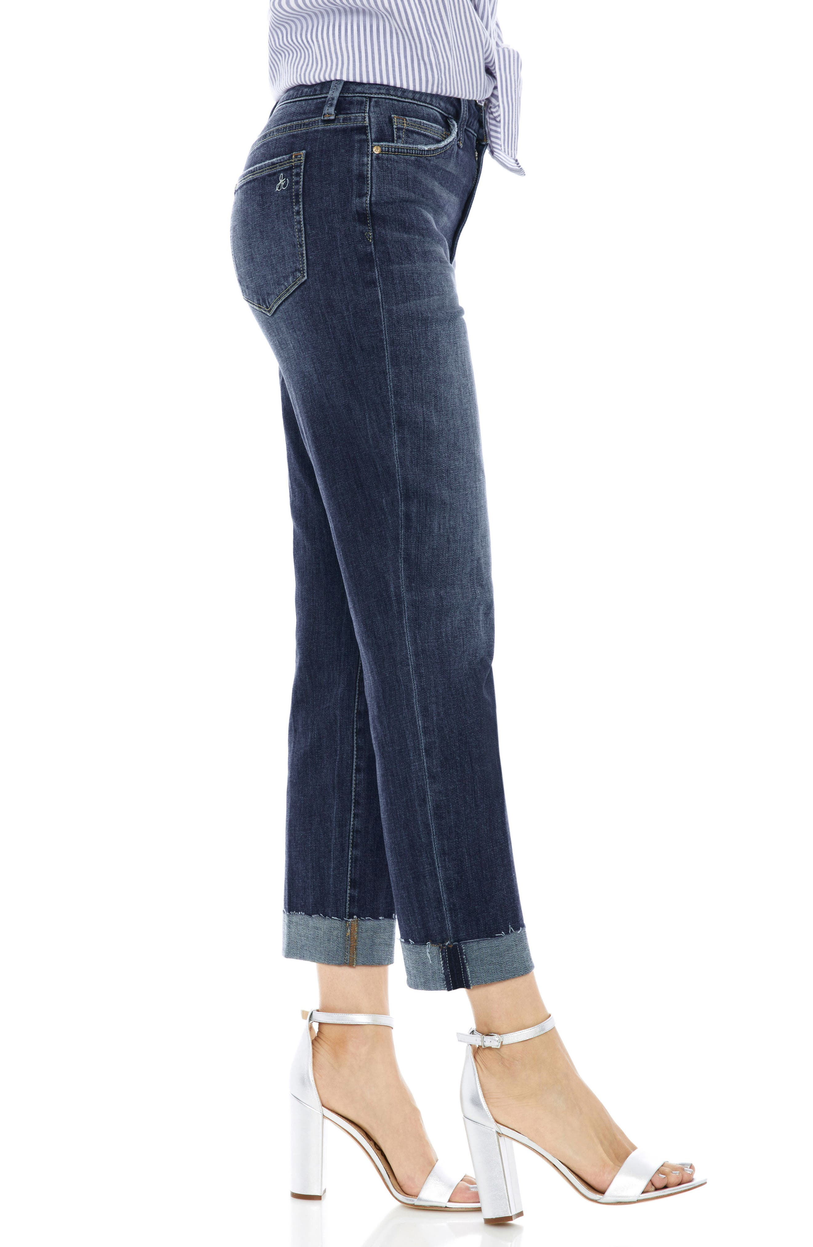 The Mary Jane Cuffed Raw Edge Jeans,                             Alternate thumbnail 3, color,                             401
