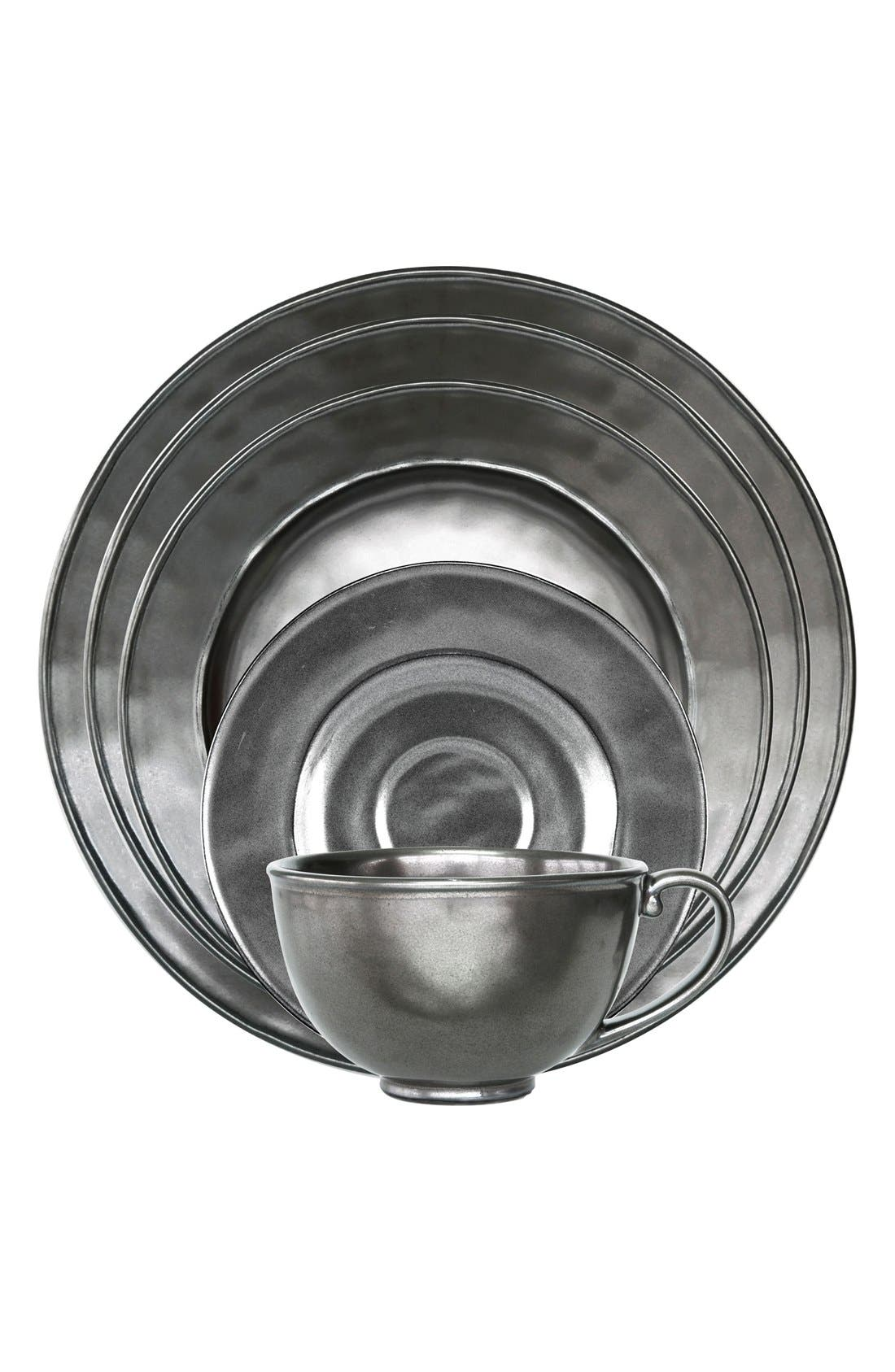 Pewter Stoneware 5-Piece Place Setting,                             Main thumbnail 1, color,                             PEWTER