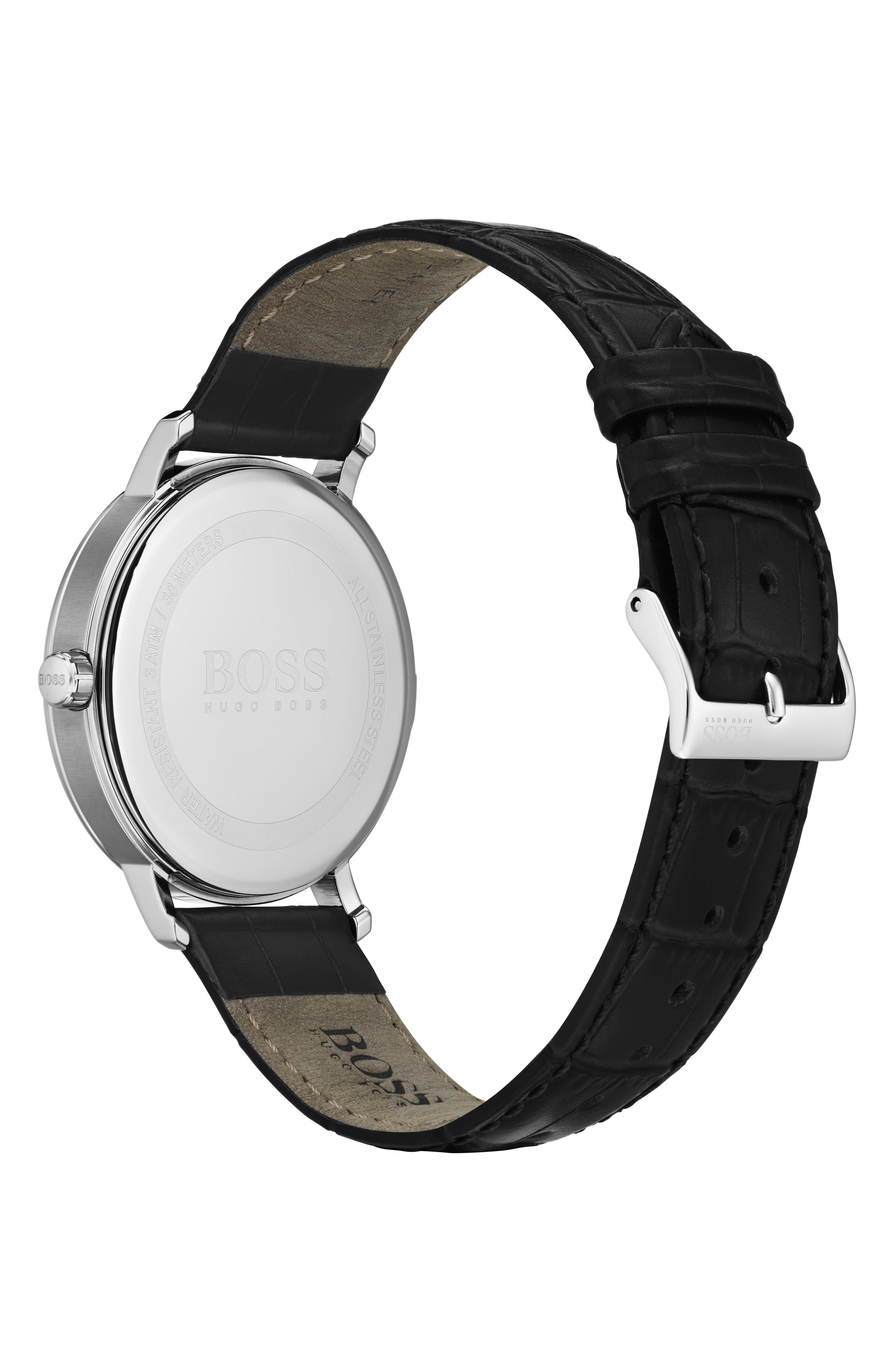 BOSS,                             Leather Strap Watch, 40mm,                             Alternate thumbnail 2, color,                             001