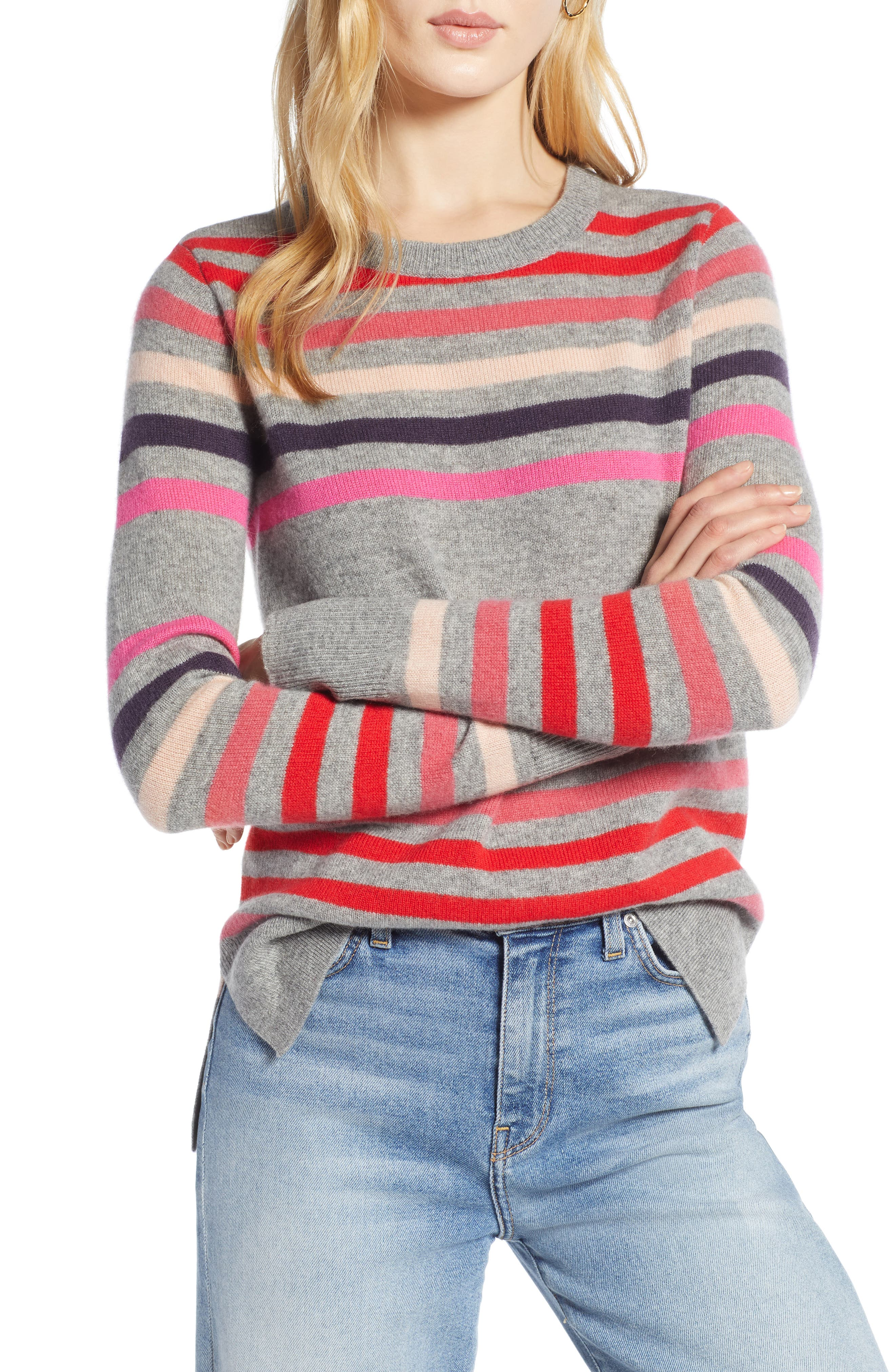 Crewneck Cashmere Sweater,                             Main thumbnail 1, color,                             GREY- PINK STRIPE