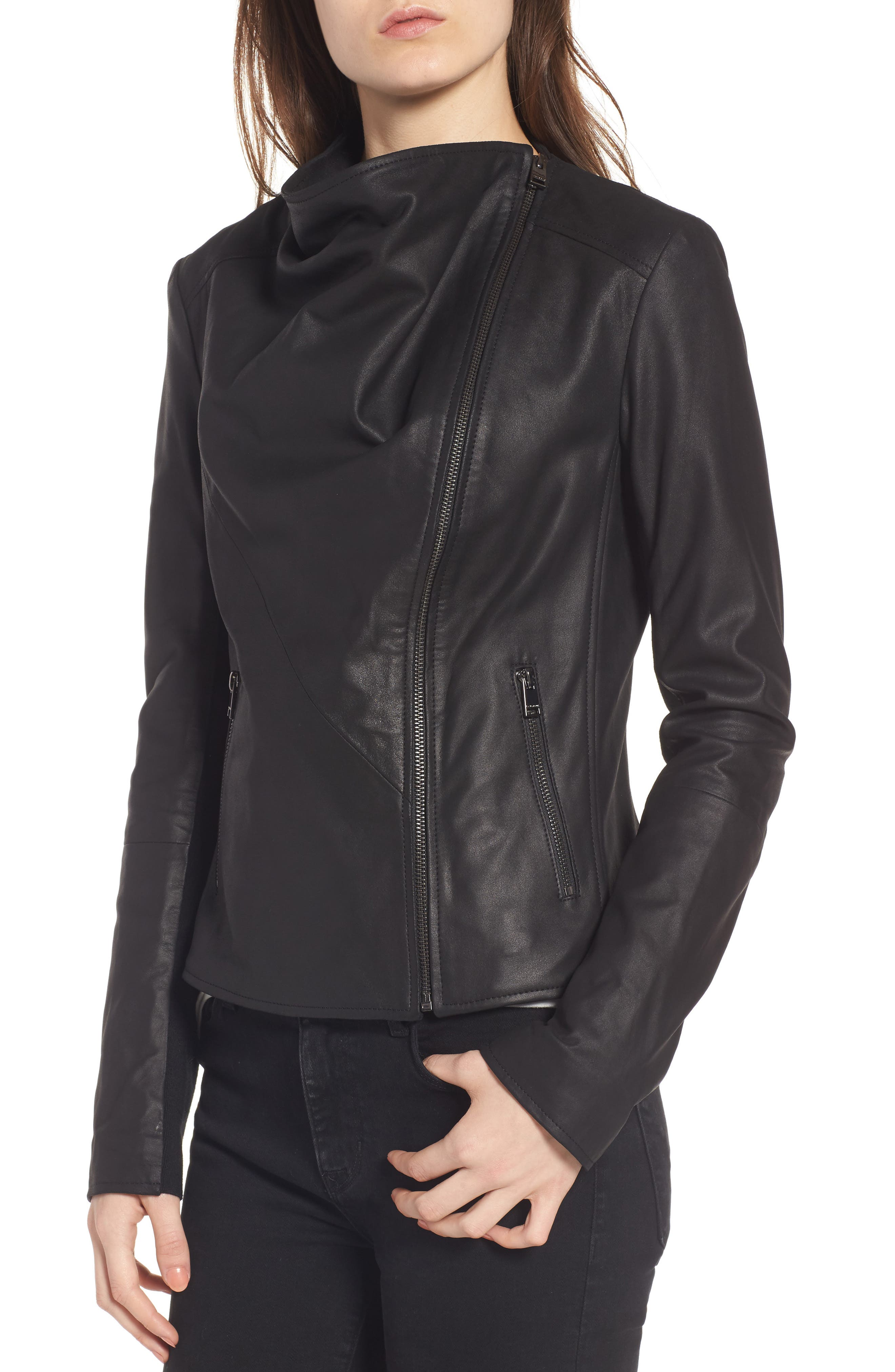 Cascade Leather Jacket,                             Alternate thumbnail 4, color,                             001