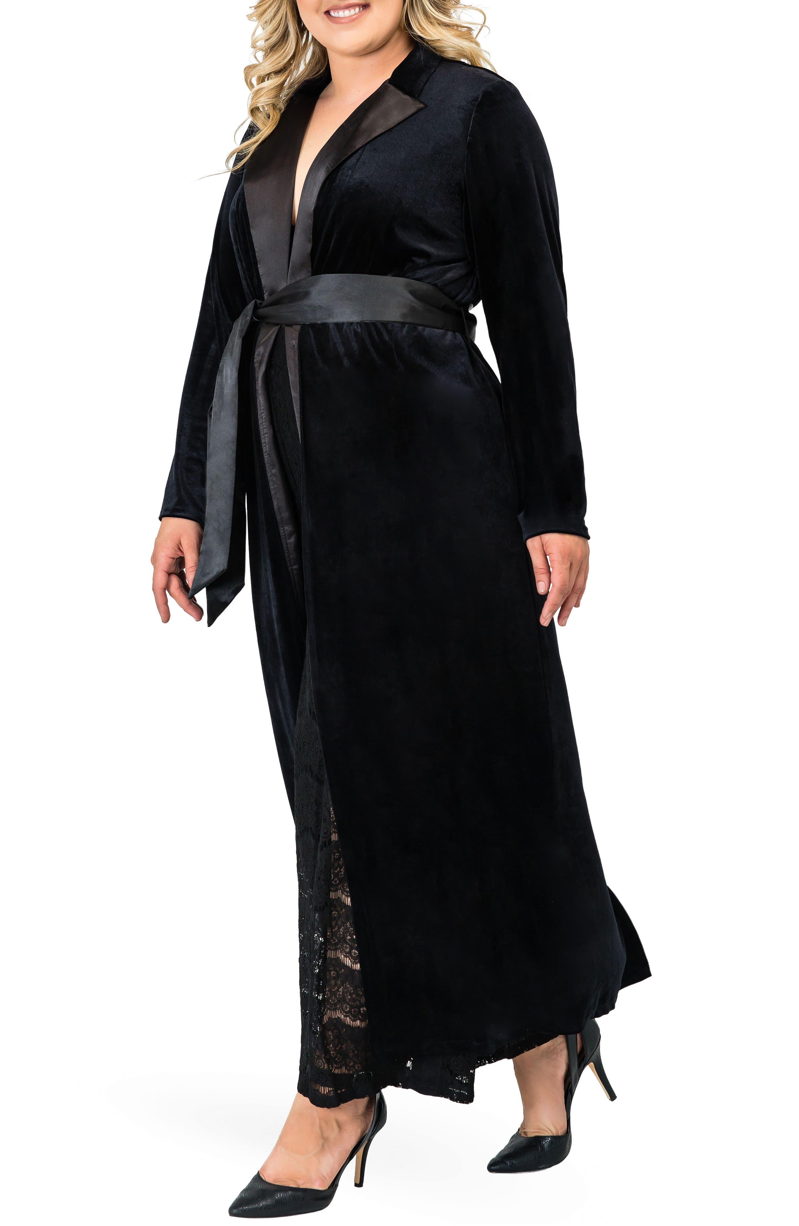 STANDARDS & PRACTICES,                             Freya Wrap Coat Dress,                             Alternate thumbnail 3, color,                             BLACK