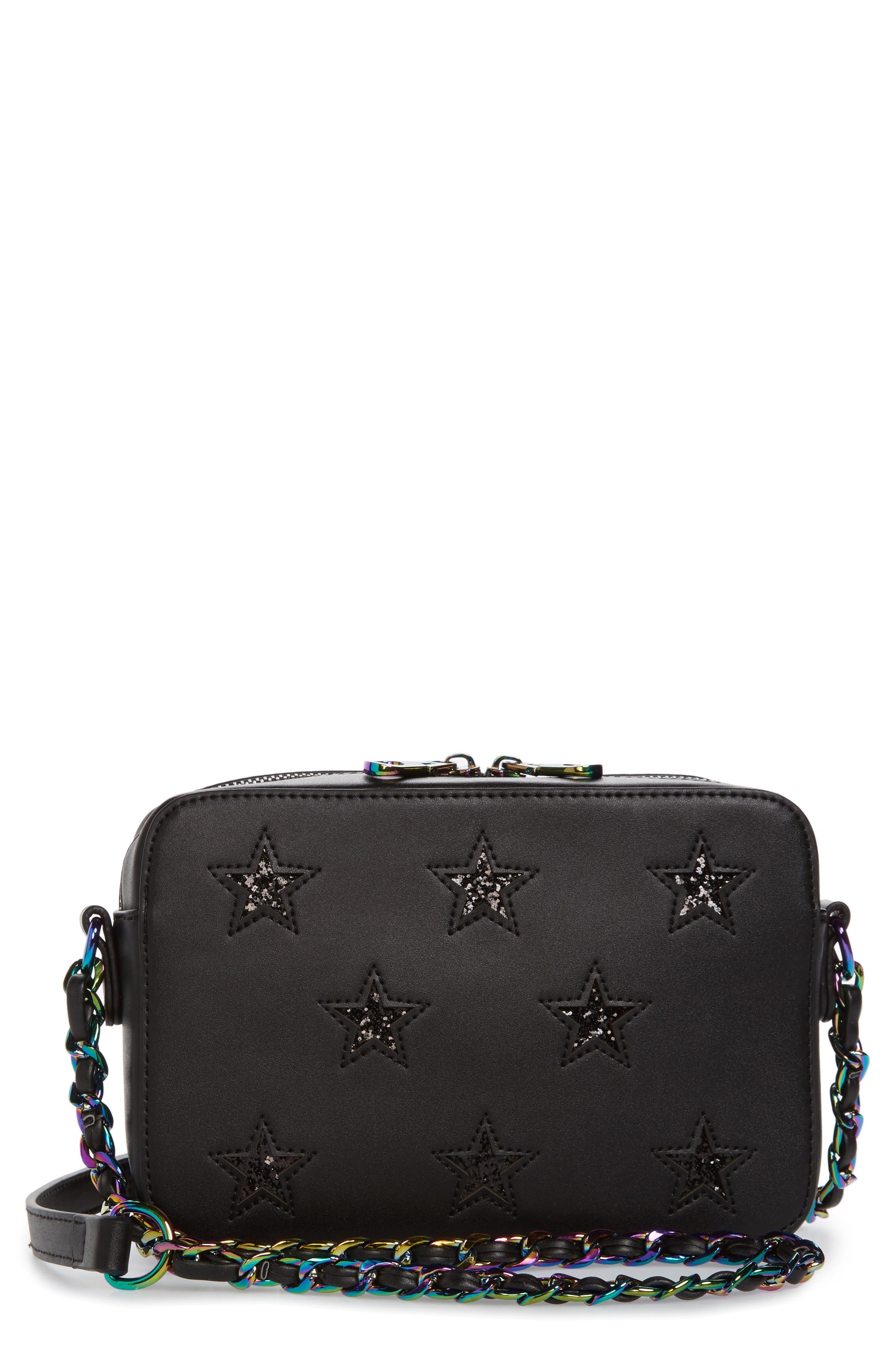 Bella Glitter Star Faux Leather Crossbody Bag,                             Main thumbnail 1, color,