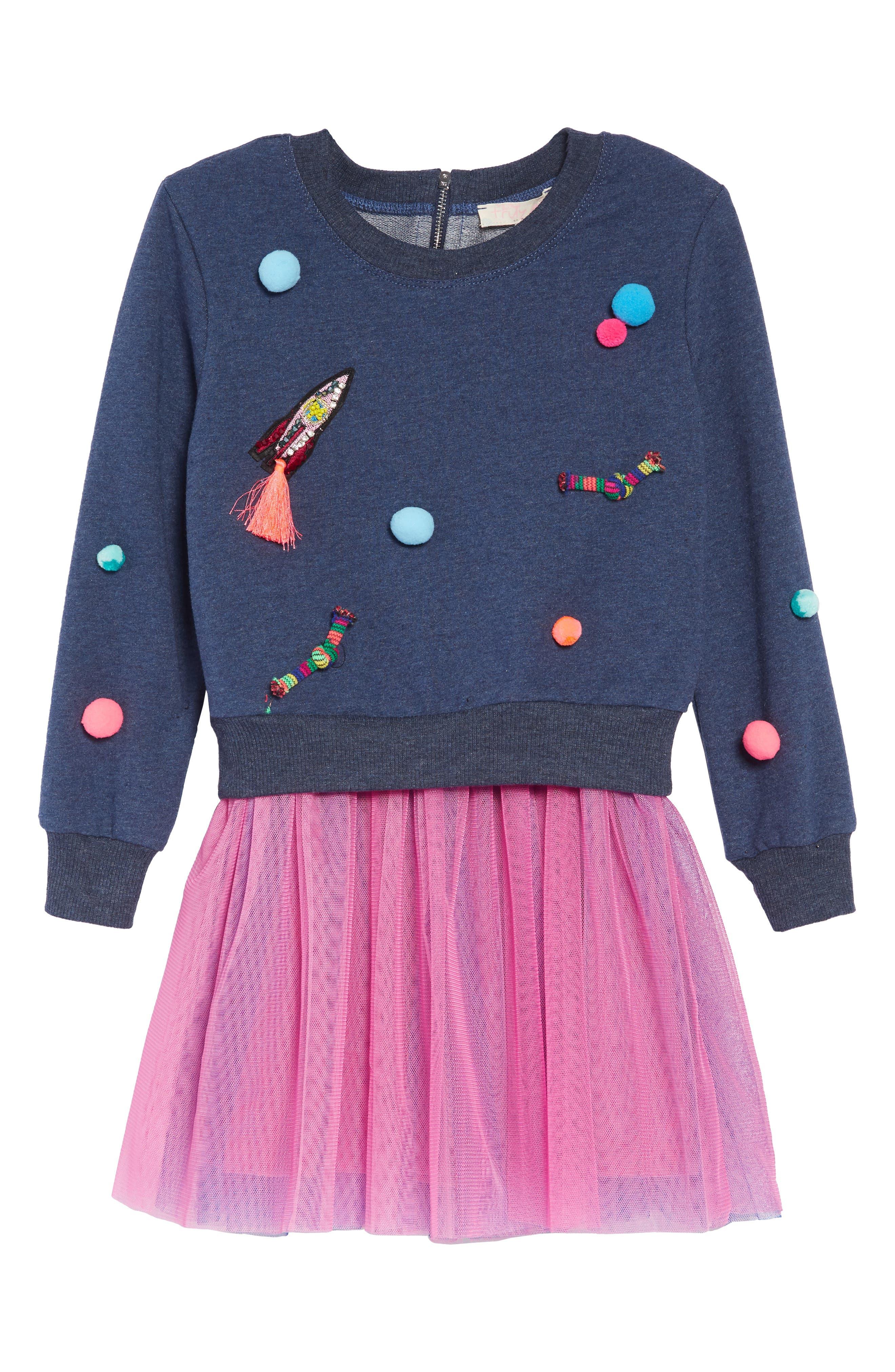 Appliqué Top & Tutu Dress Set,                             Main thumbnail 1, color,                             NAVY-PINK