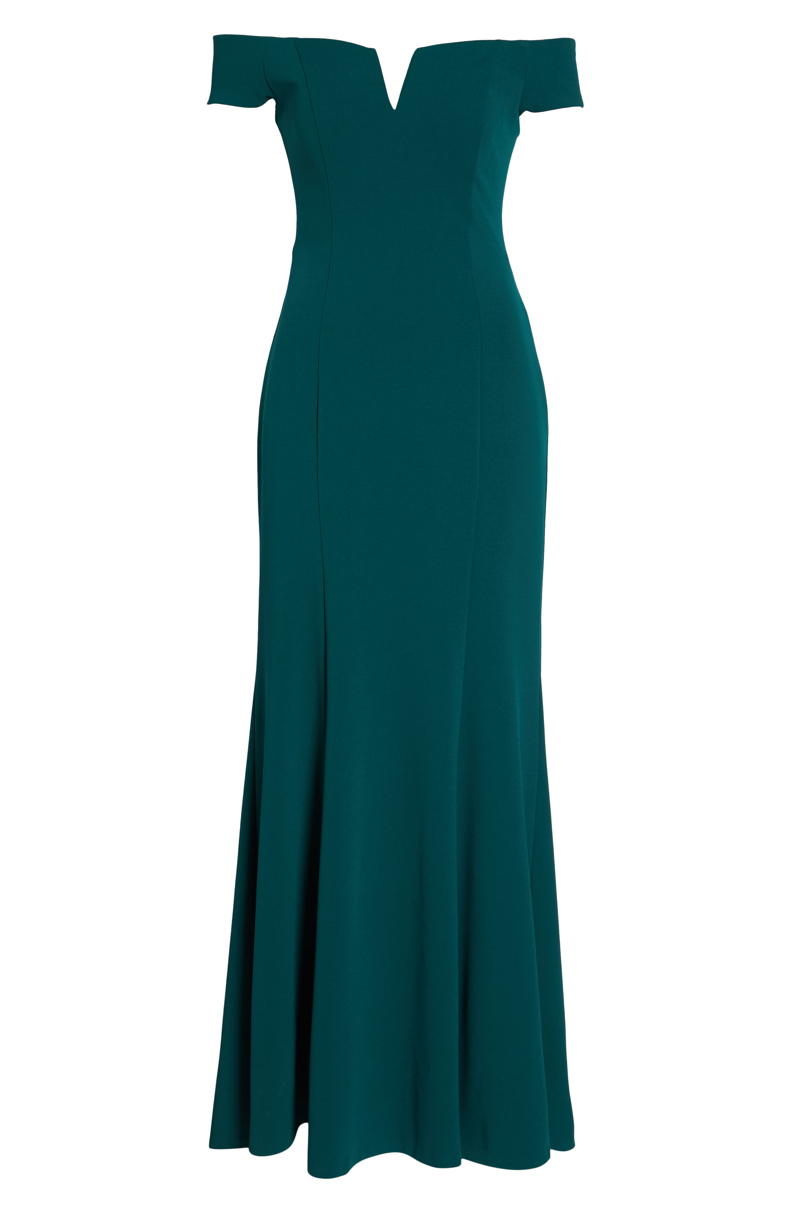 Notched Off the Shoulder Trumpet Gown,                             Alternate thumbnail 7, color,                             EMERALD