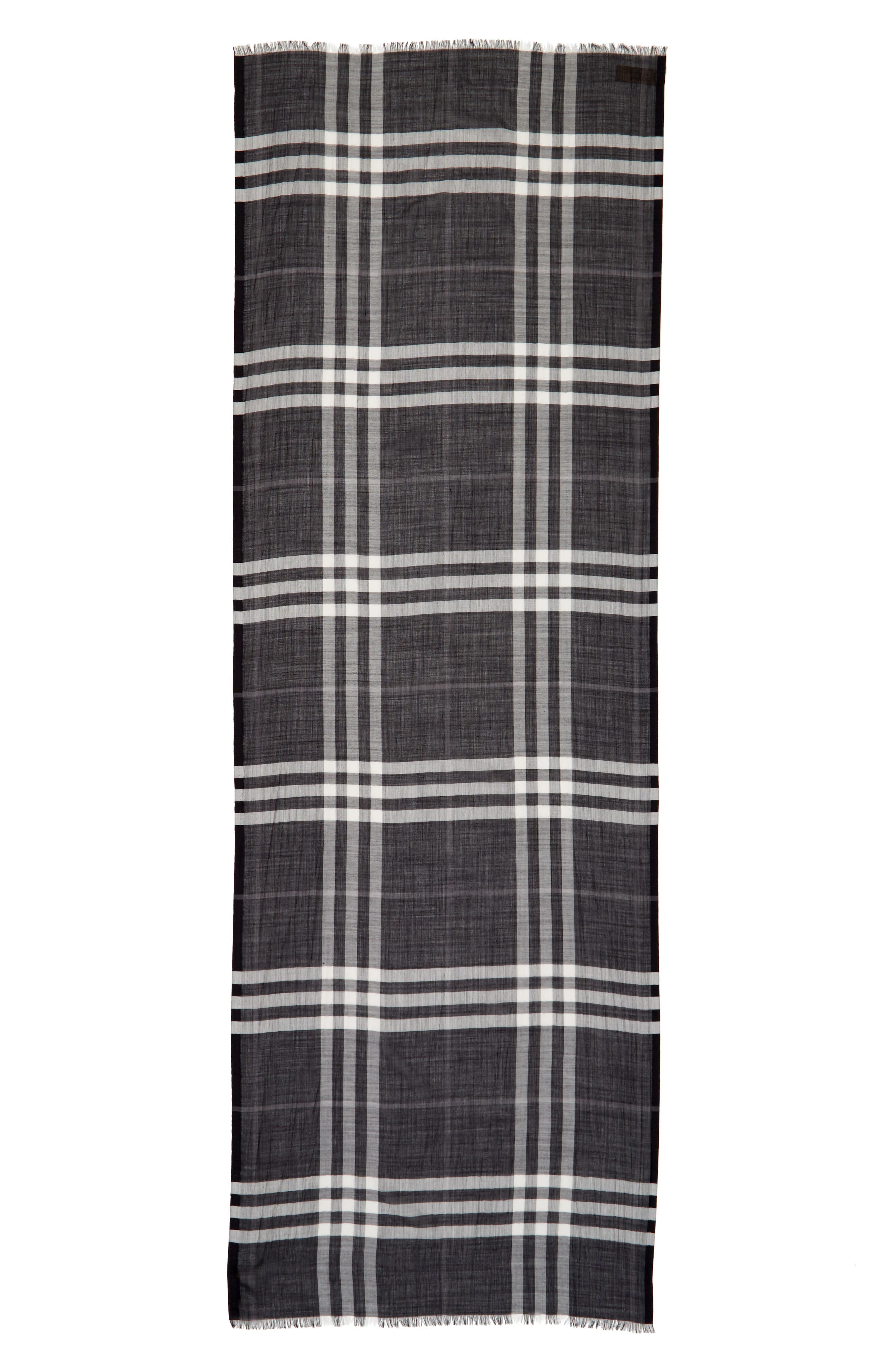 Giant Check Print Wool & Silk Scarf,                             Alternate thumbnail 74, color,
