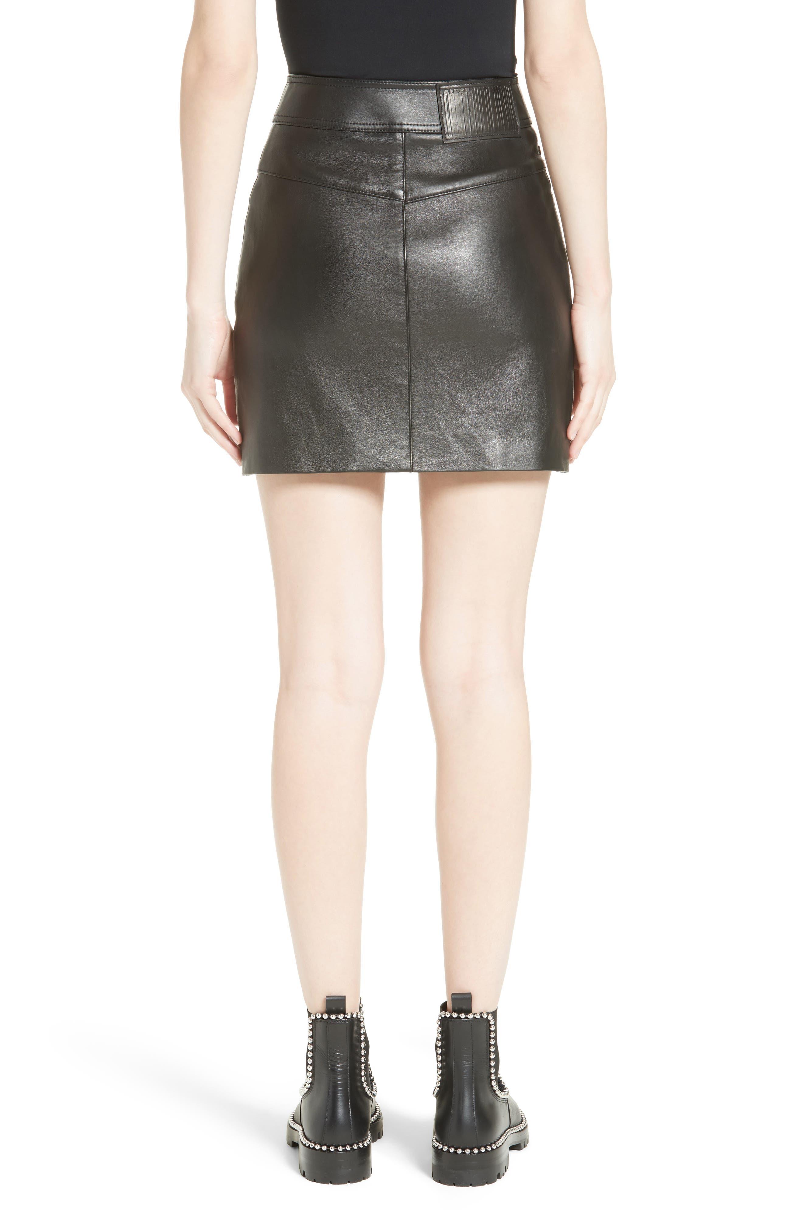 Snap Leather Miniskirt,                             Alternate thumbnail 2, color,                             001