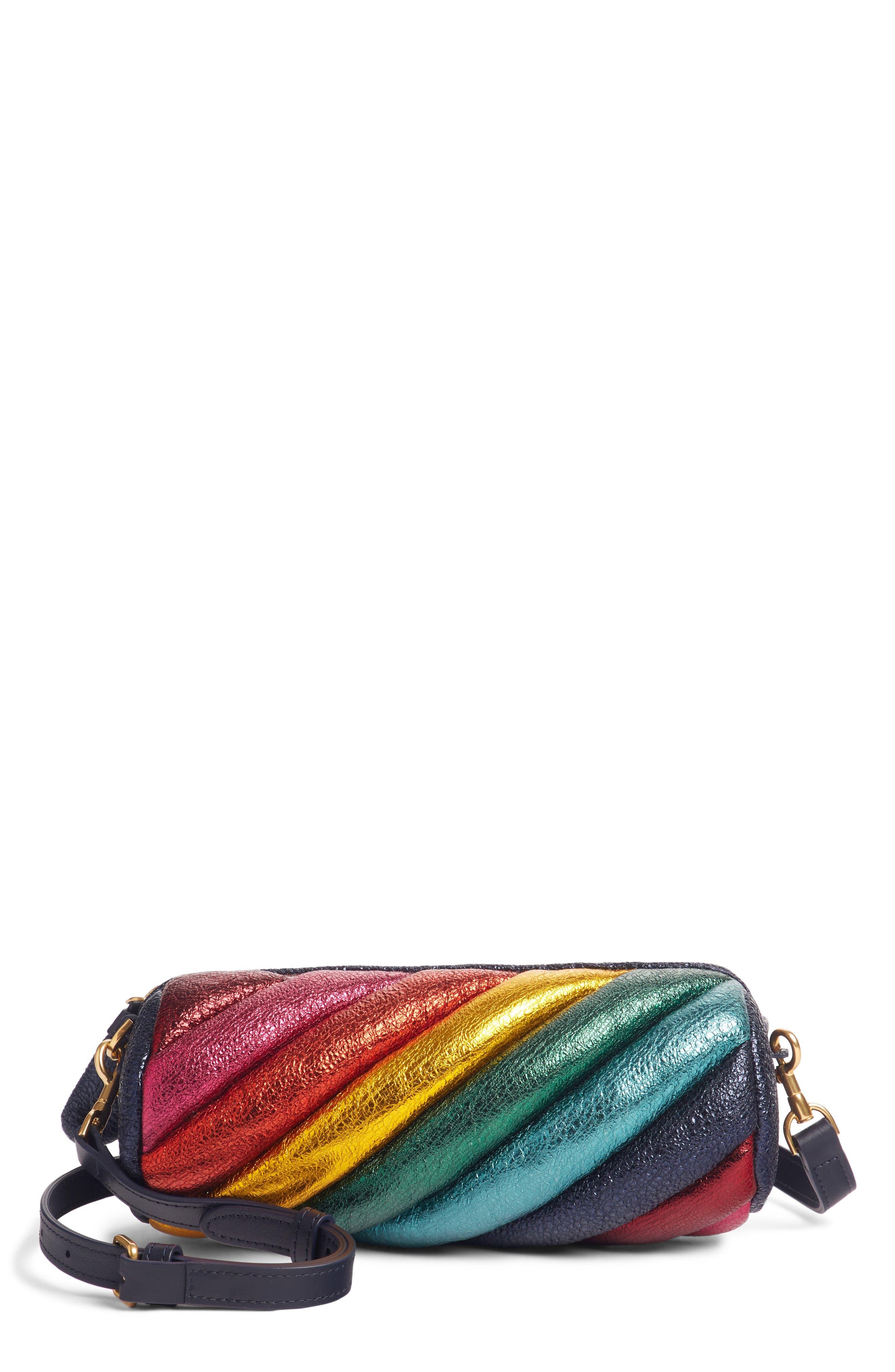 Marshmallow Twist Metallic Leather Crossbody Bag,                         Main,                         color, BLACK MULTI