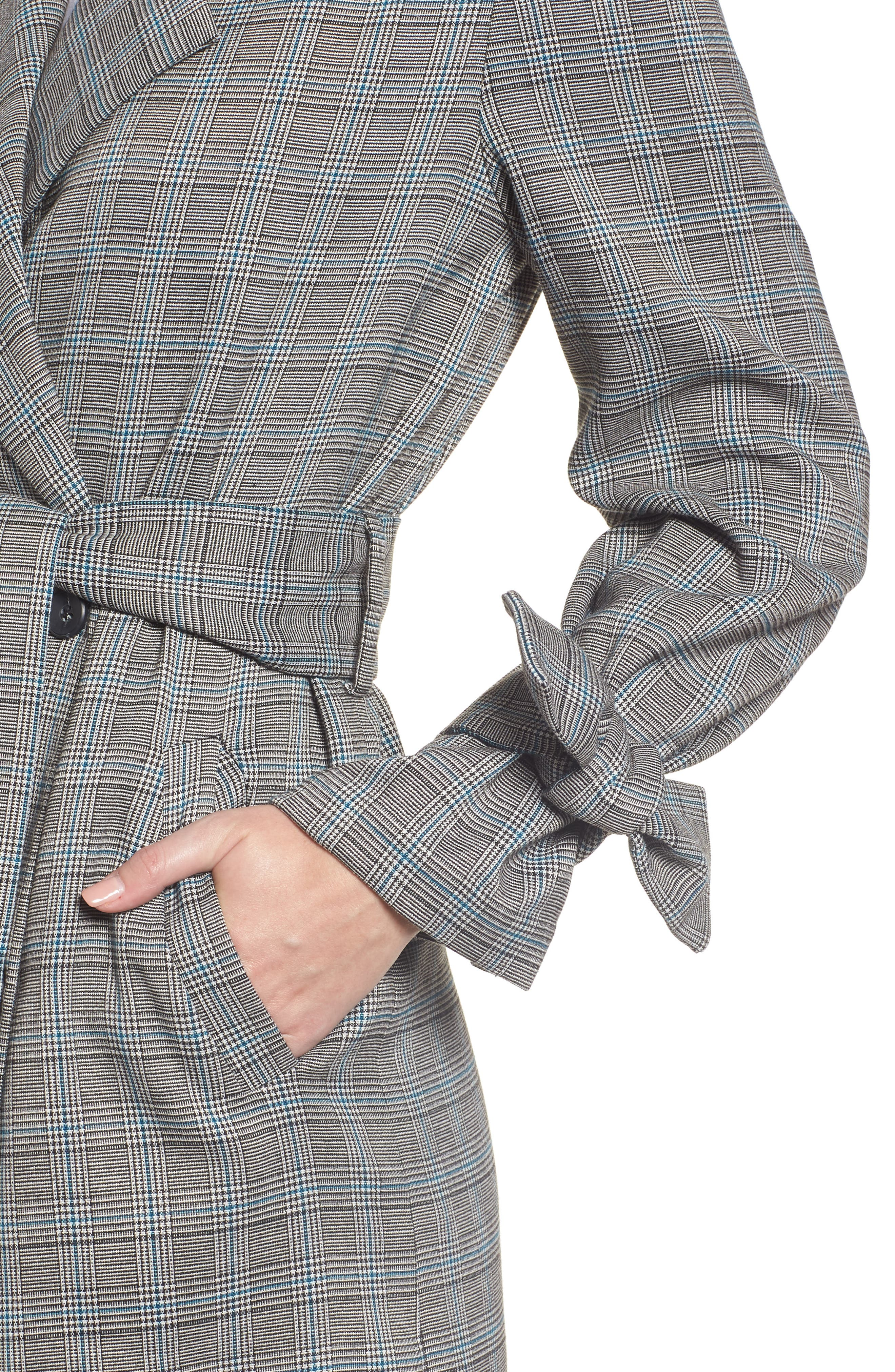 Belted Trench Coat,                             Alternate thumbnail 4, color,                             TEAL CASEY PLAID