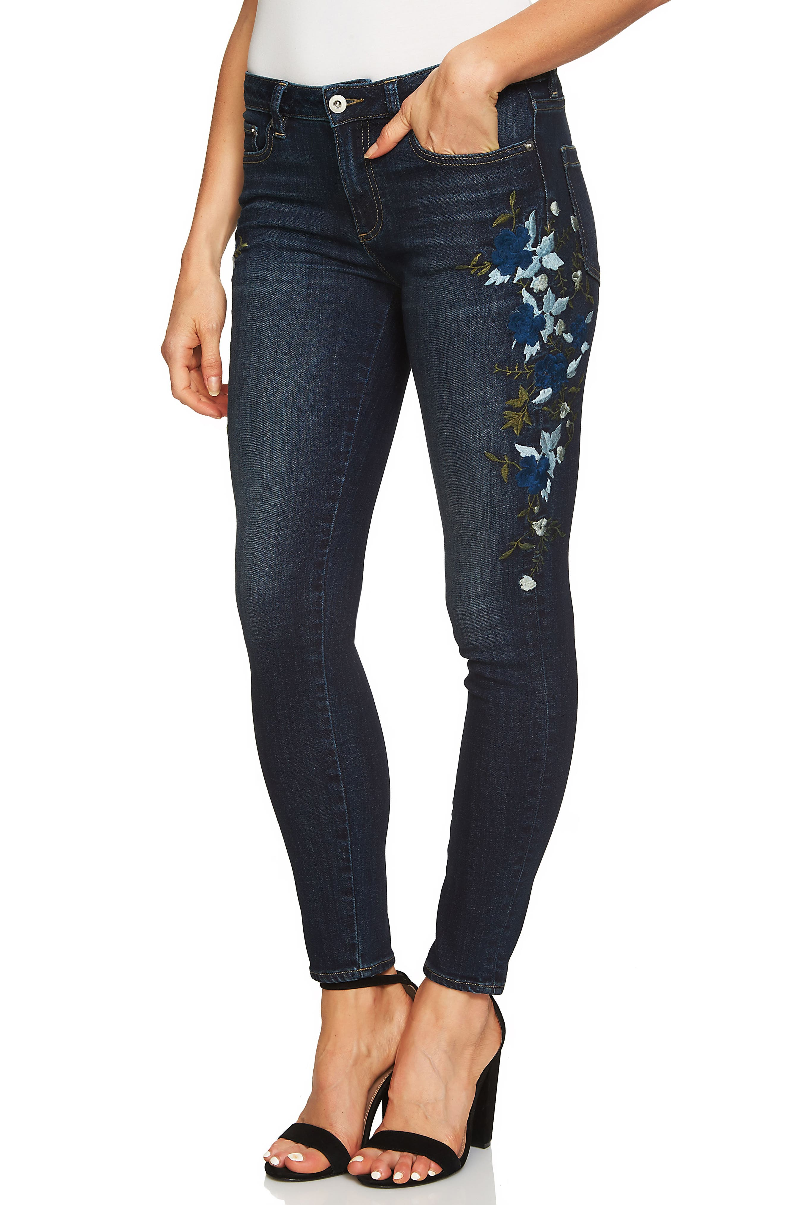 Indigo Denim Floral Embroidered Jeans,                             Main thumbnail 1, color,                             428