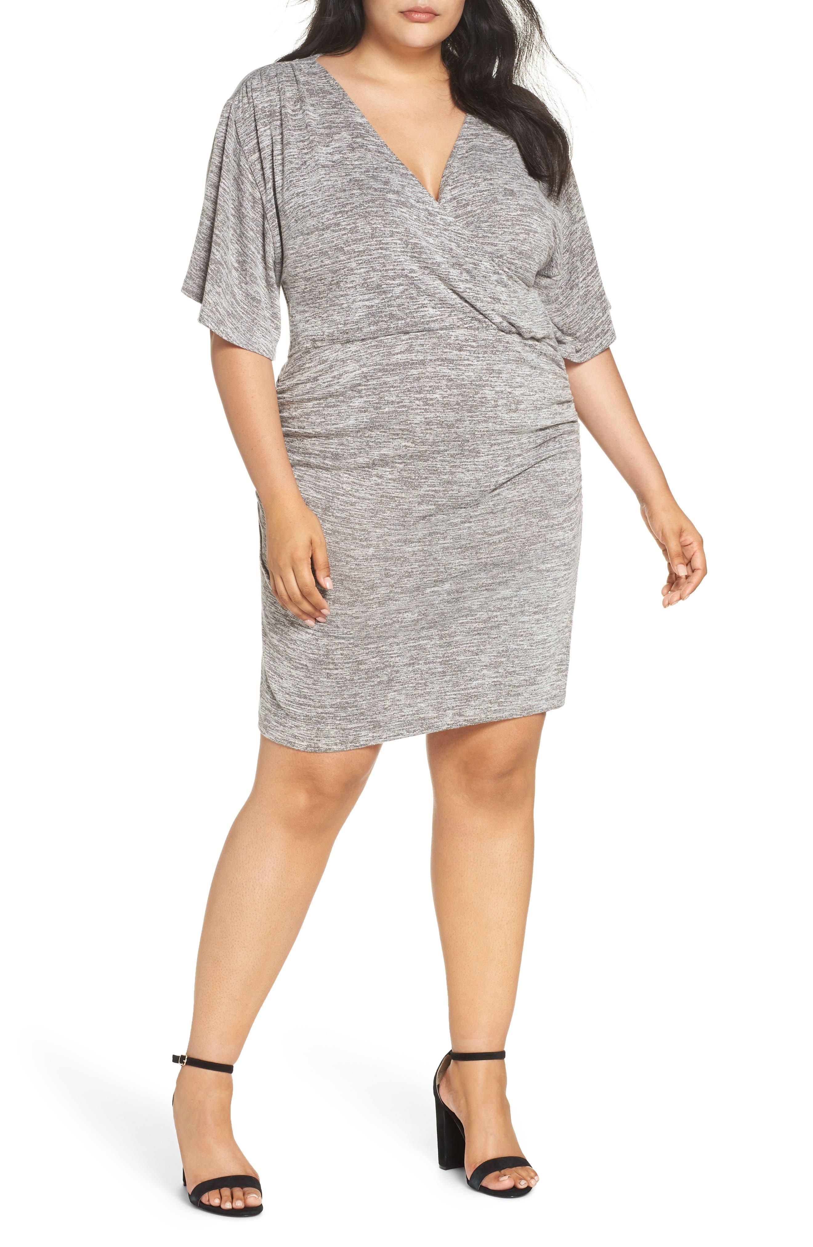 Faux Wrap Dress,                         Main,                         color, GREY CLOUDY HEATHER