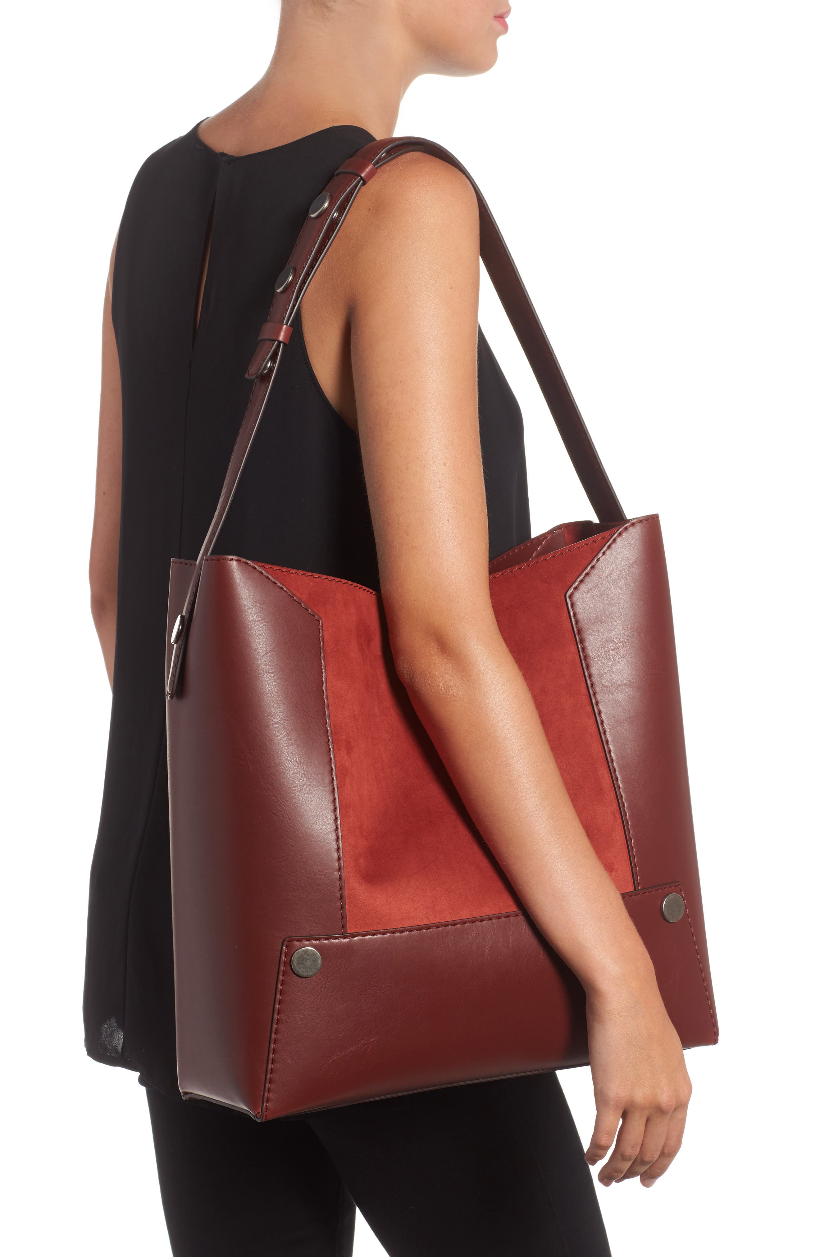Small Faux Leather Bucket Bag,                             Alternate thumbnail 2, color,                             617