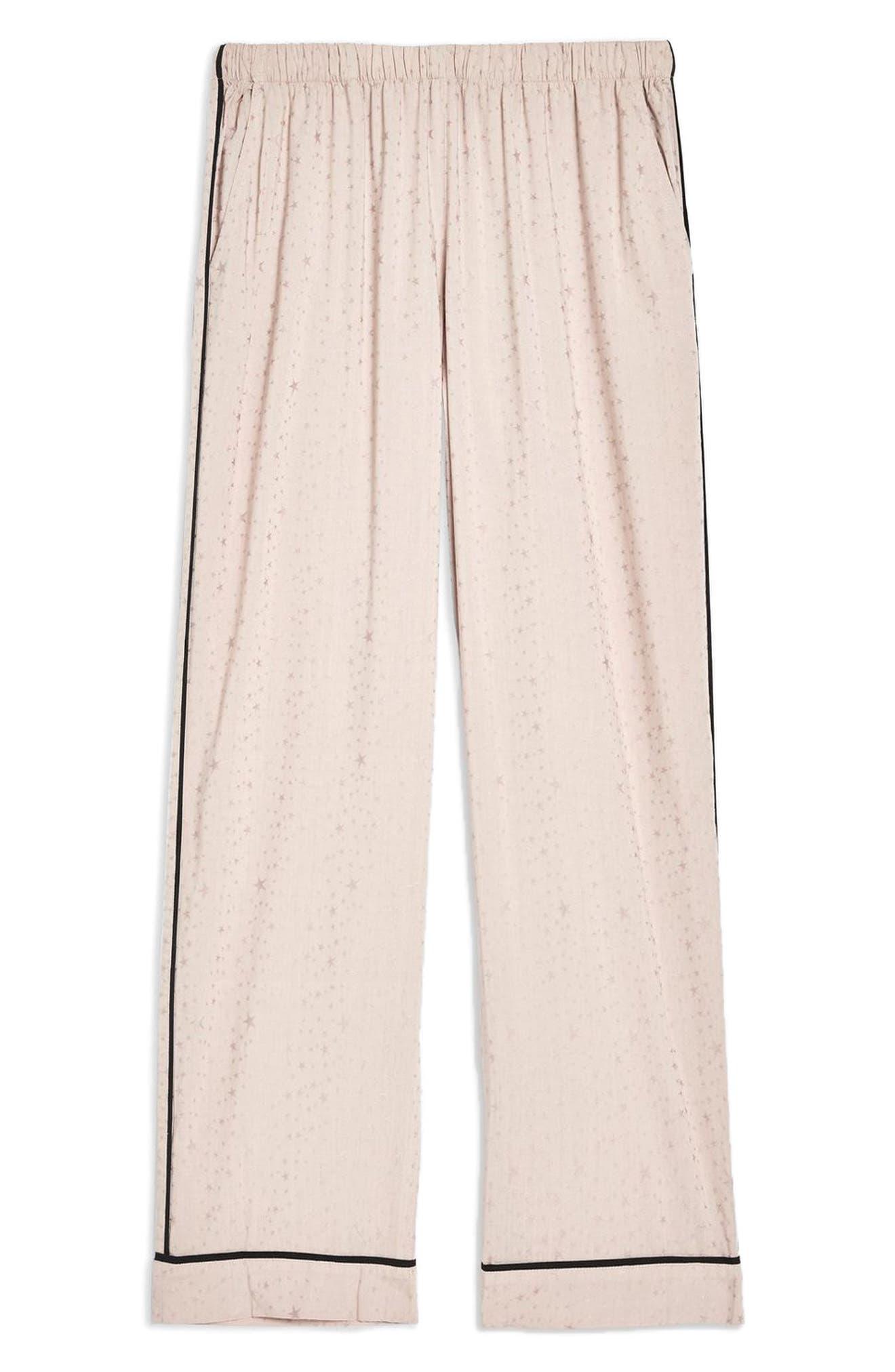 Star Jacquard Pajama Pants,                             Alternate thumbnail 3, color,                             NUDE MULTI