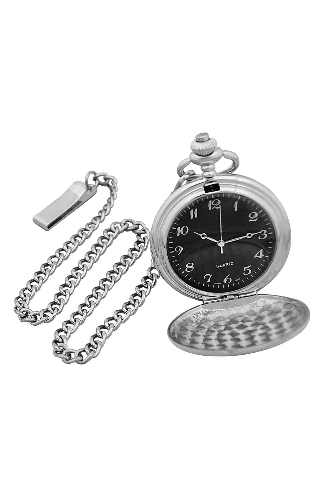 Silver Plate Monogram Pocket Watch, 44mm,                             Alternate thumbnail 2, color,                             044