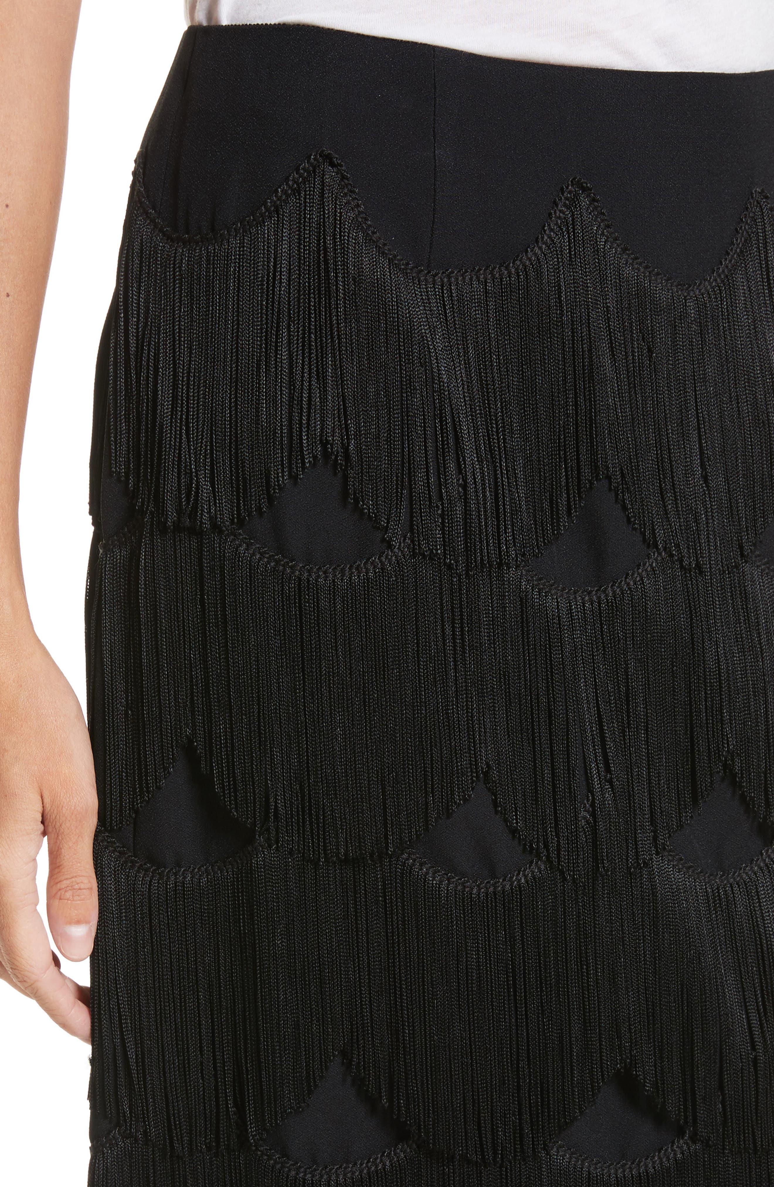 Fringe Skirt,                             Alternate thumbnail 4, color,                             001