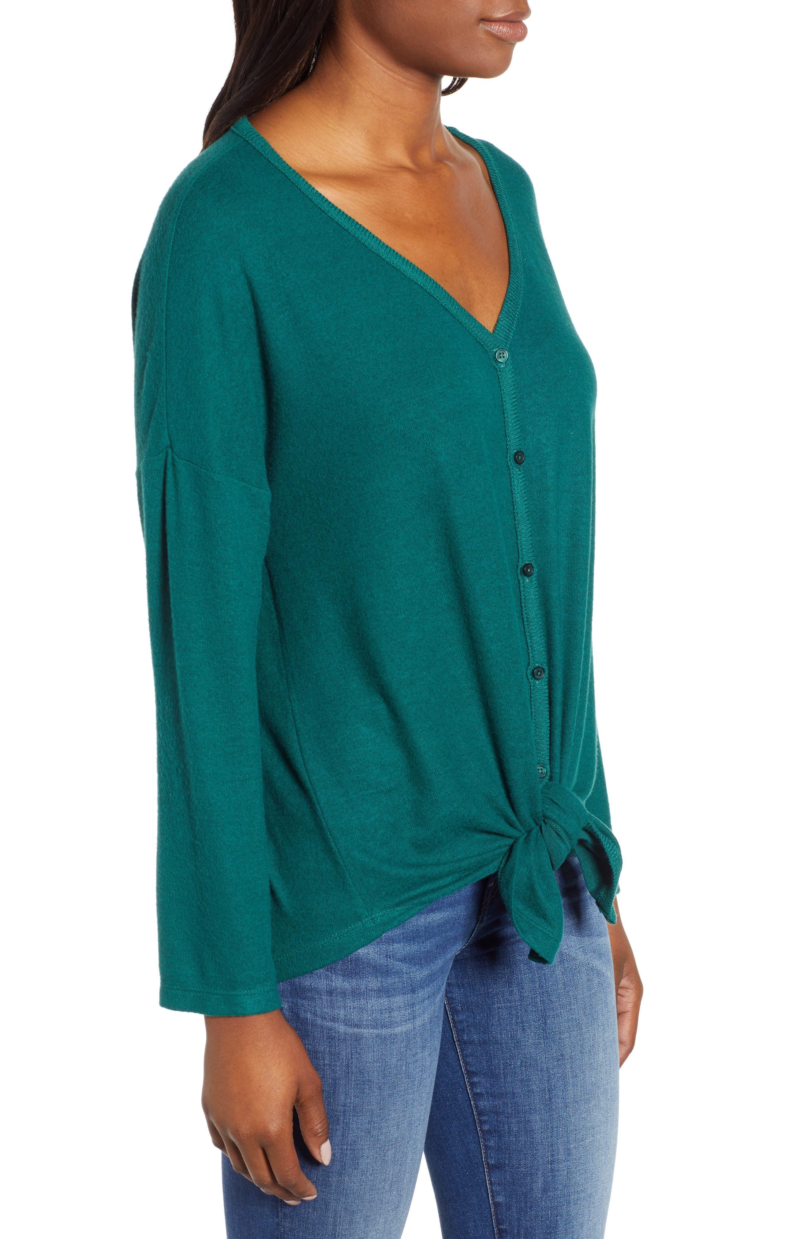 Tie Front Cozy Knit Shirt,                             Alternate thumbnail 3, color,                             301