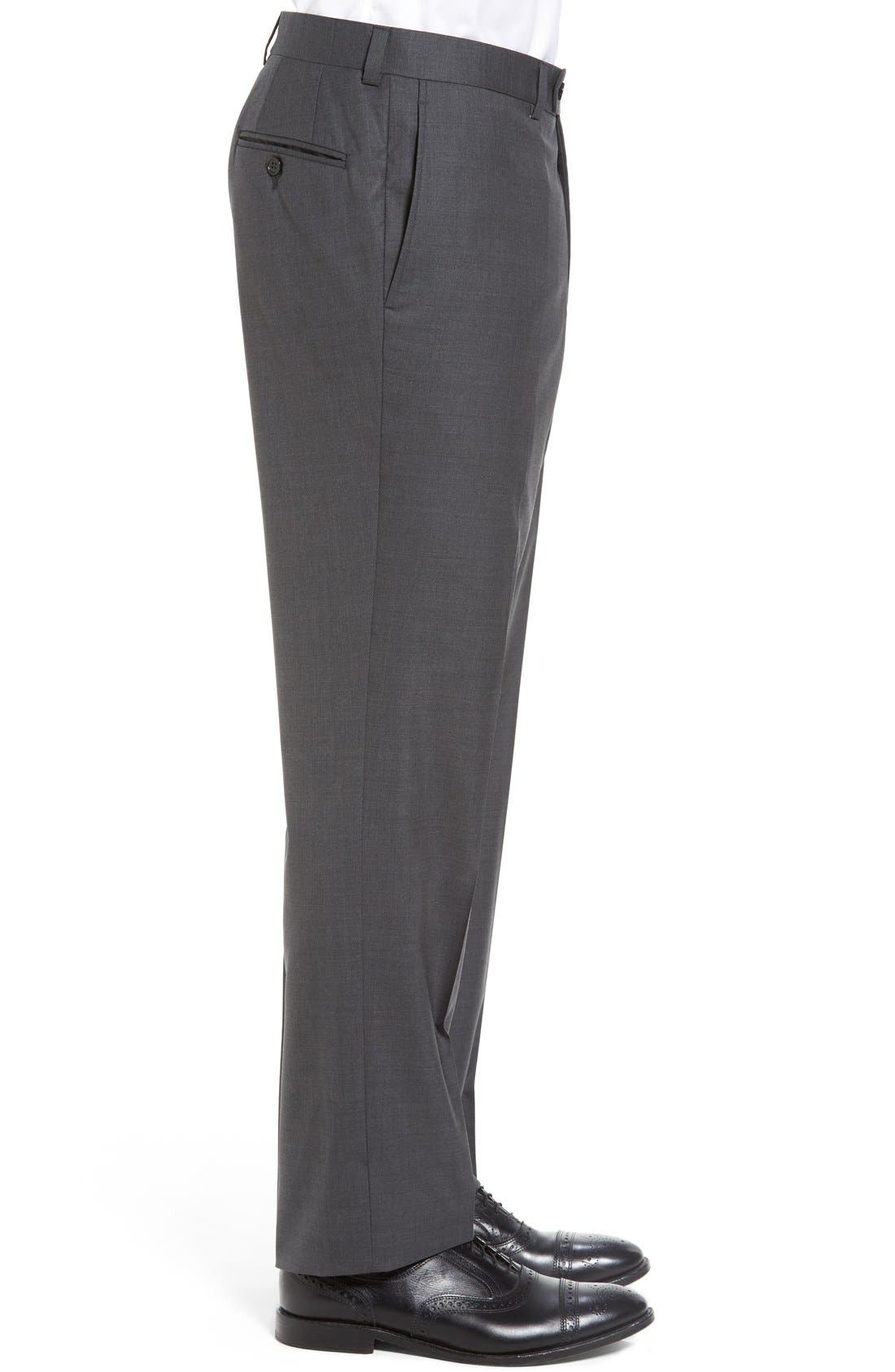Ryan Regular Fit Wool Trousers,                             Alternate thumbnail 3, color,                             CHARCOAL