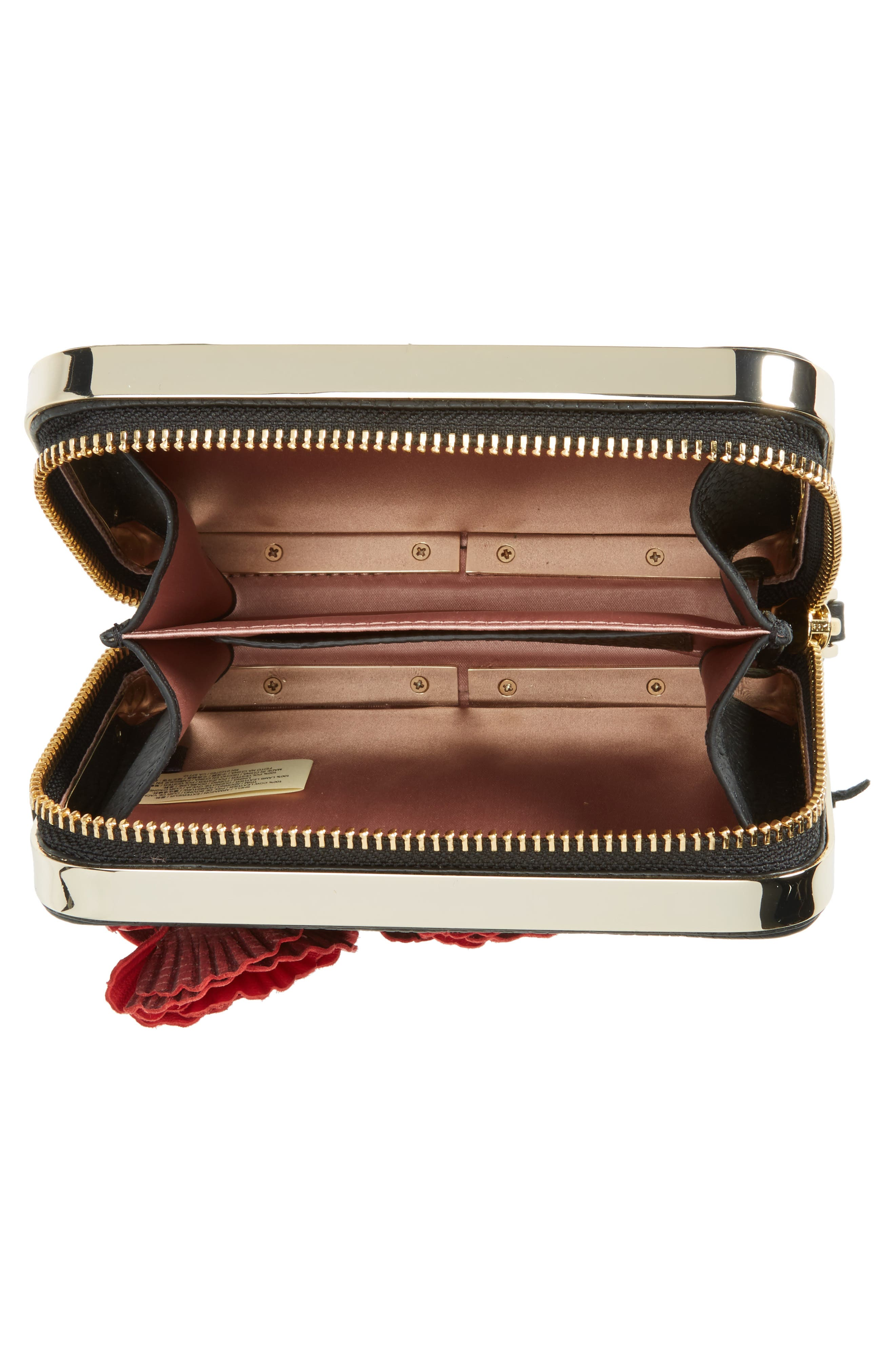 madison evening belles zurie leather frame clutch,                             Alternate thumbnail 4, color,                             001