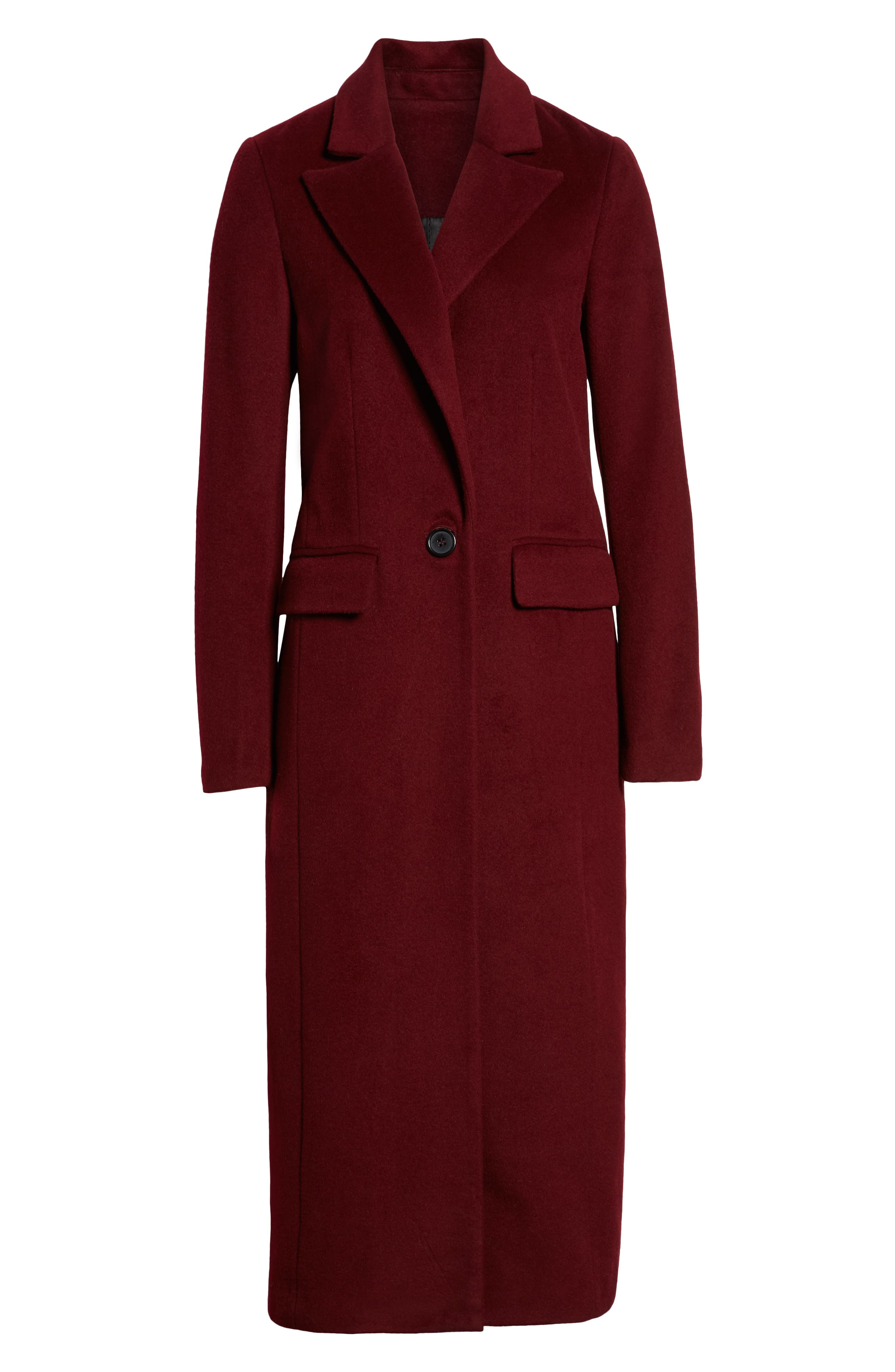 Wool Blend Menswear Coat,                             Alternate thumbnail 6, color,                             BURGUNDY