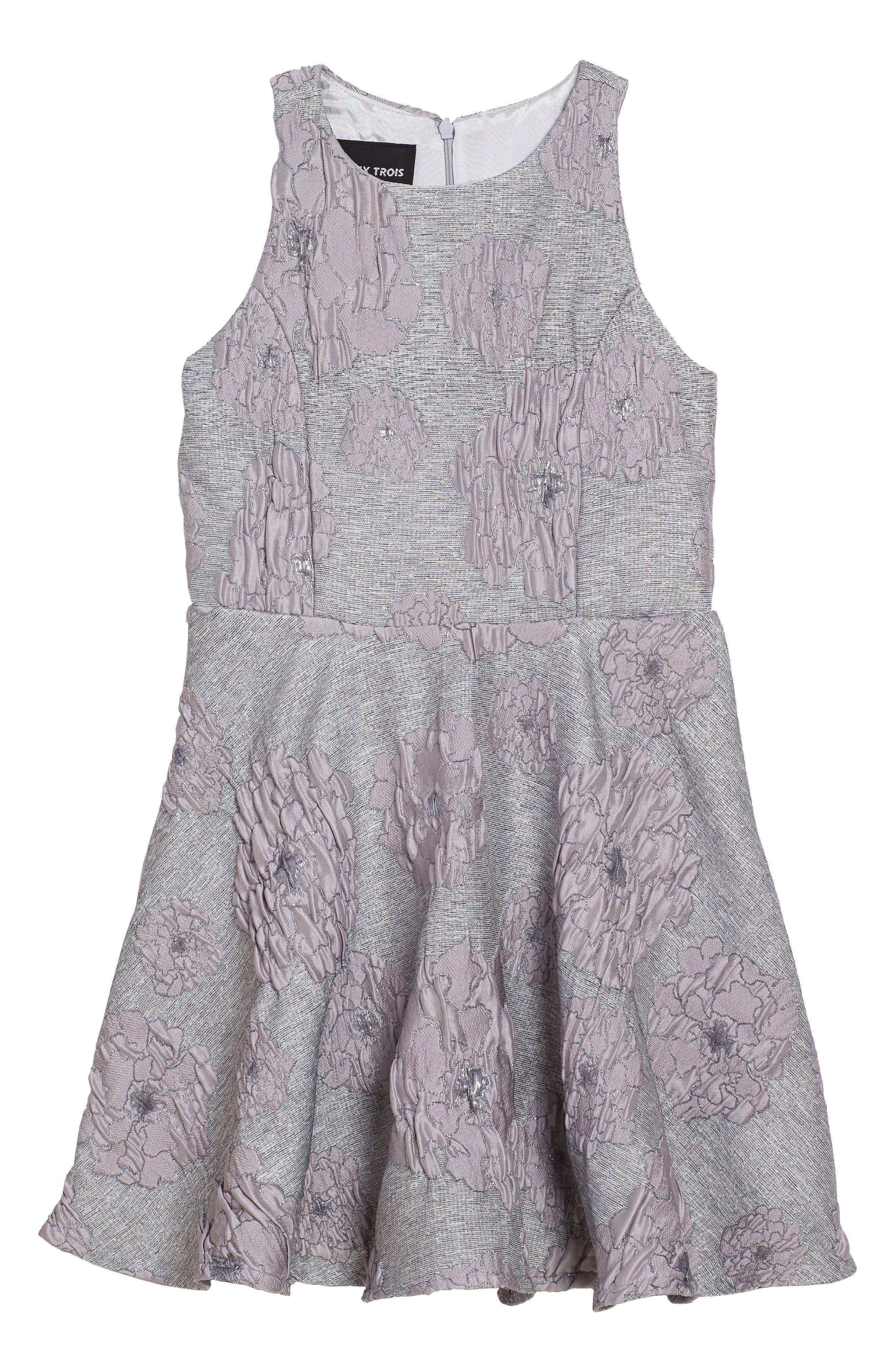 Flocked Jacquard Skater Dress,                             Main thumbnail 1, color,                             020