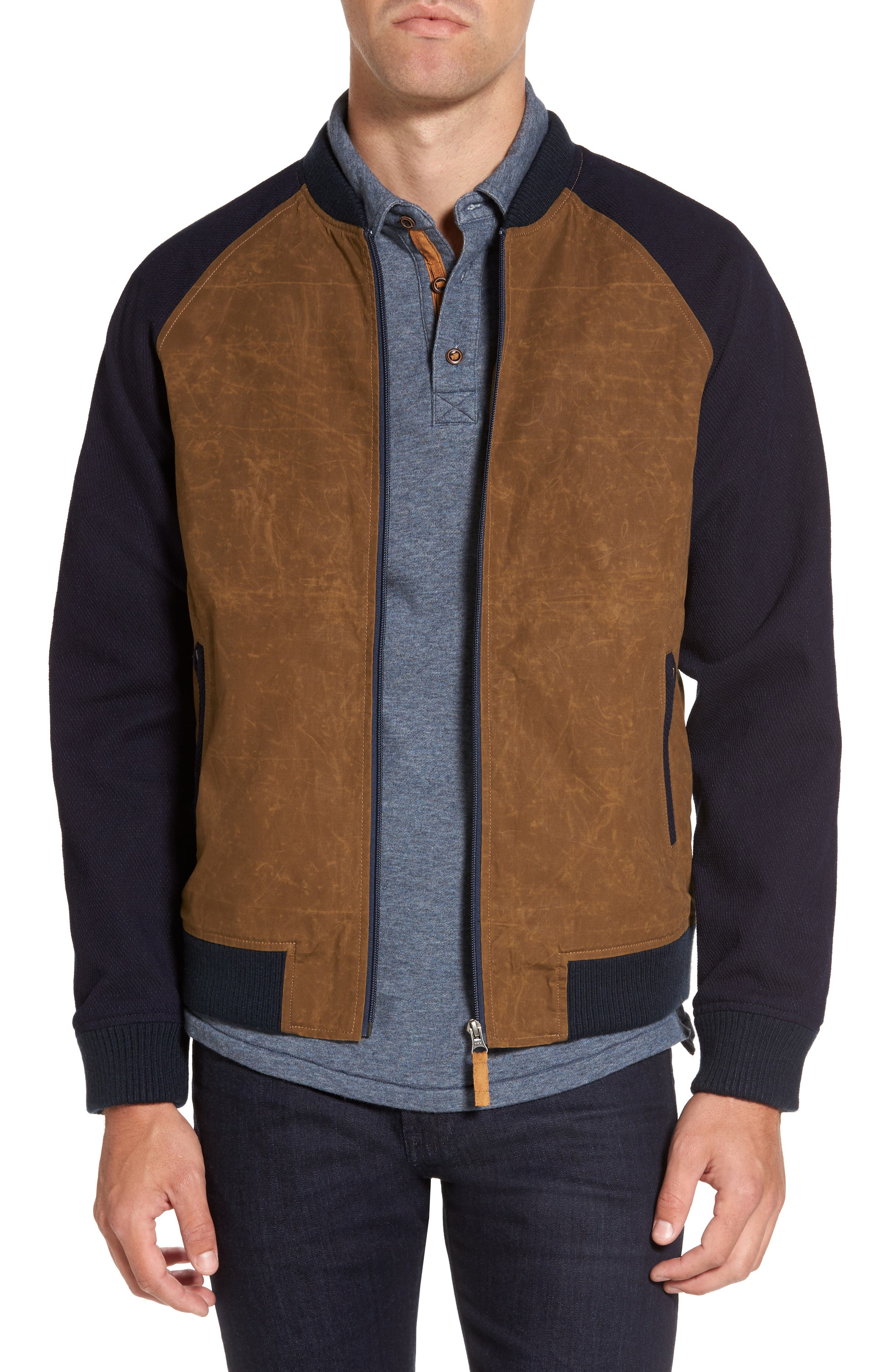 Colorblock Waxed Bomber Jacket,                         Main,                         color, 200