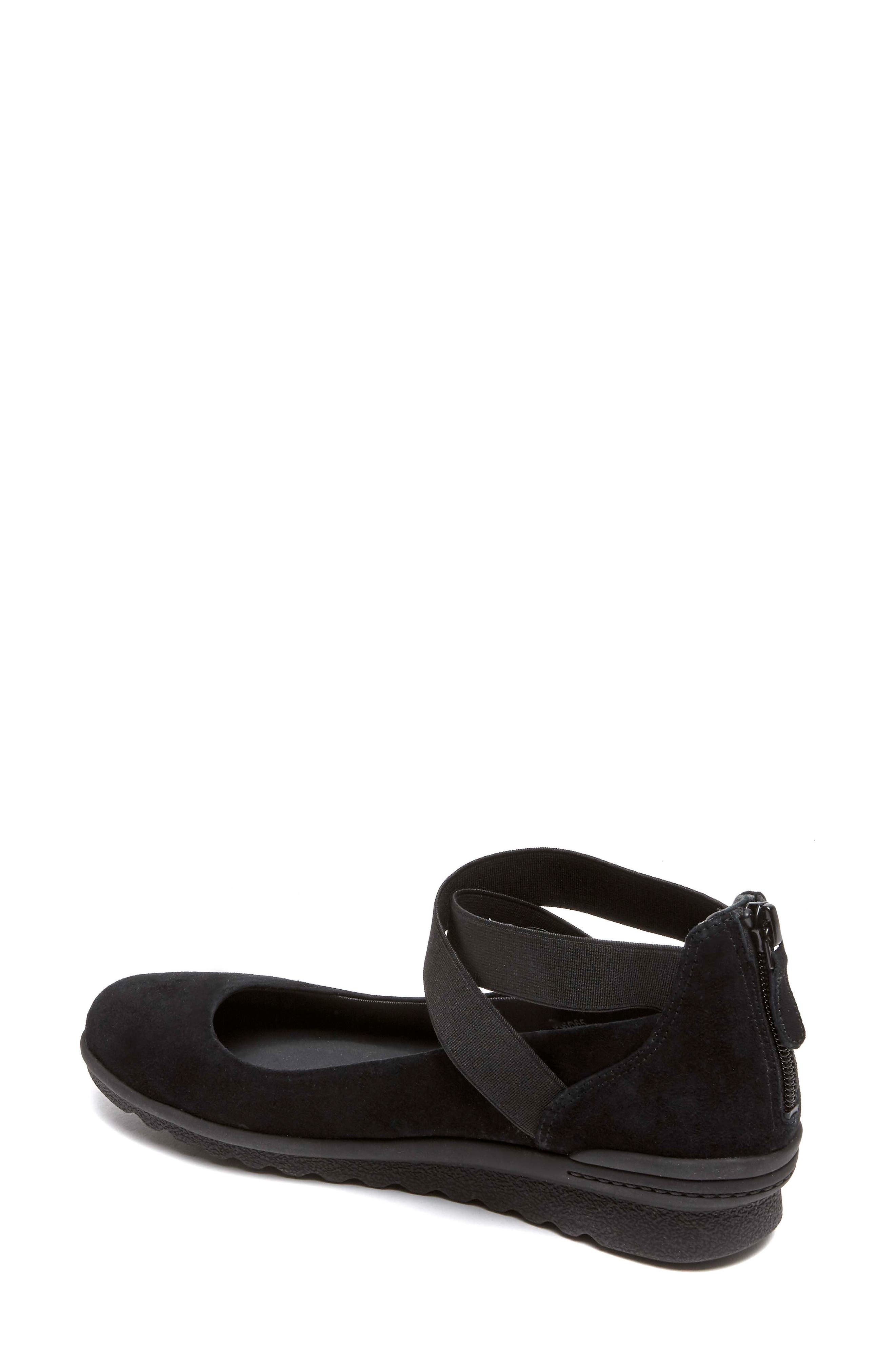 Chenole Cross Strap Flat,                             Alternate thumbnail 2, color,                             BLACK SUEDE
