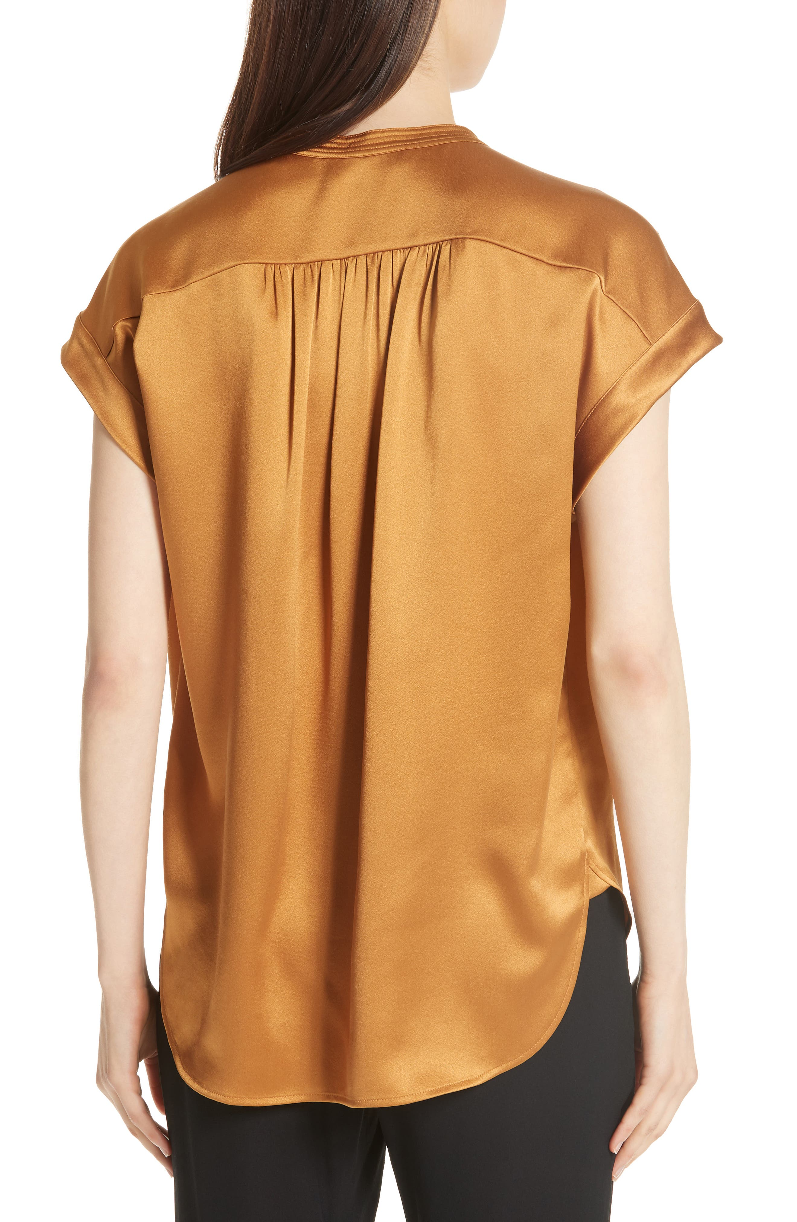 Shirred Neck Silk Top,                             Alternate thumbnail 7, color,