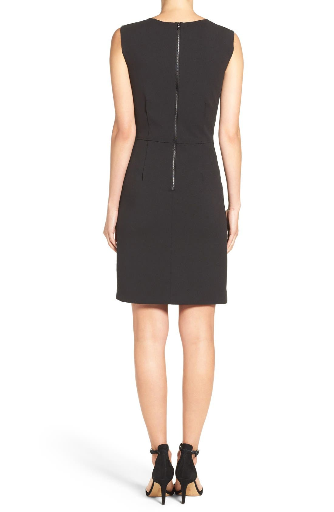 Scuba Crepe Sheath Dress,                             Alternate thumbnail 2, color,                             001