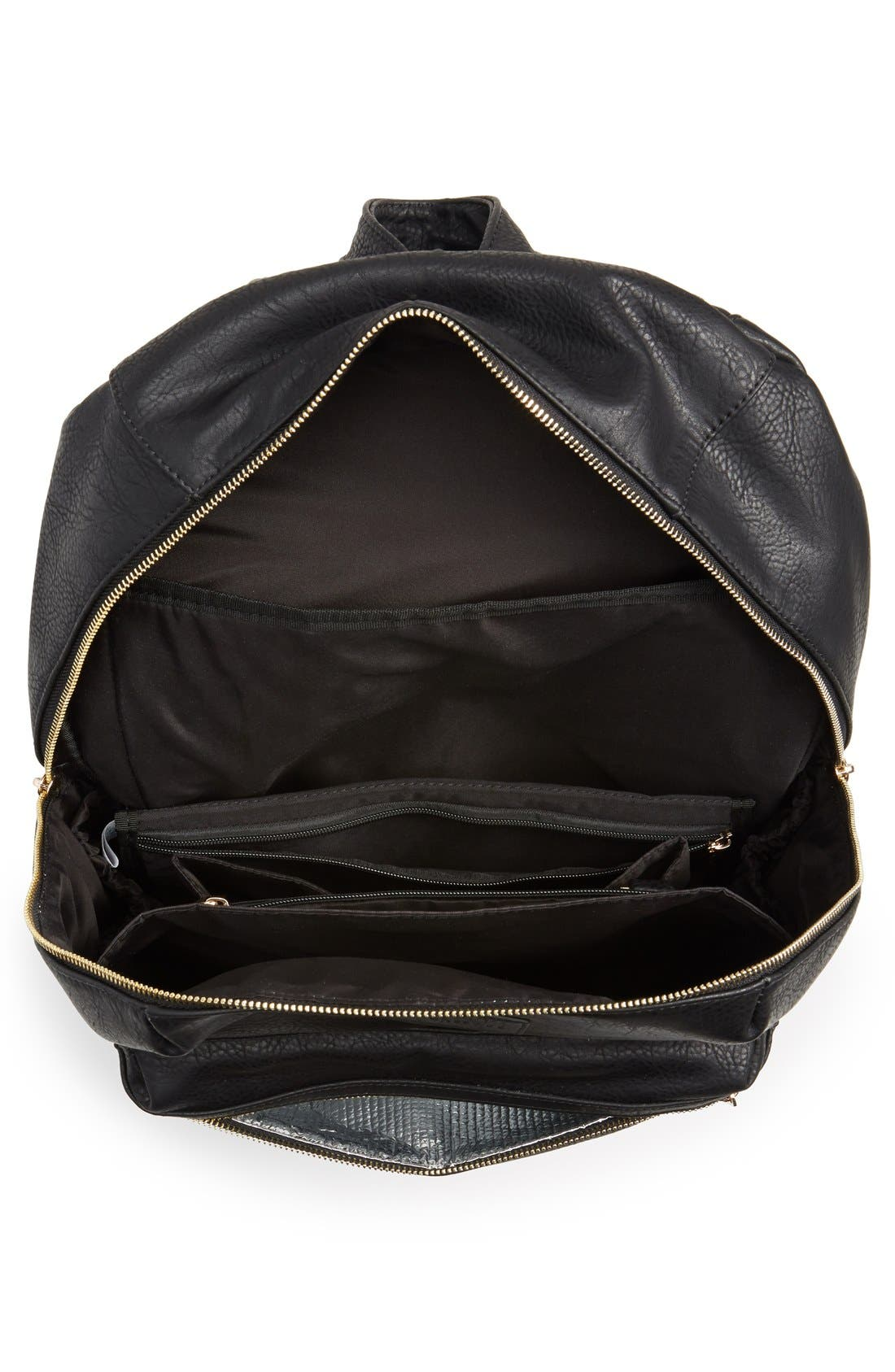 'City' Faux Leather Diaper Backpack,                             Alternate thumbnail 4, color,                             BLACK