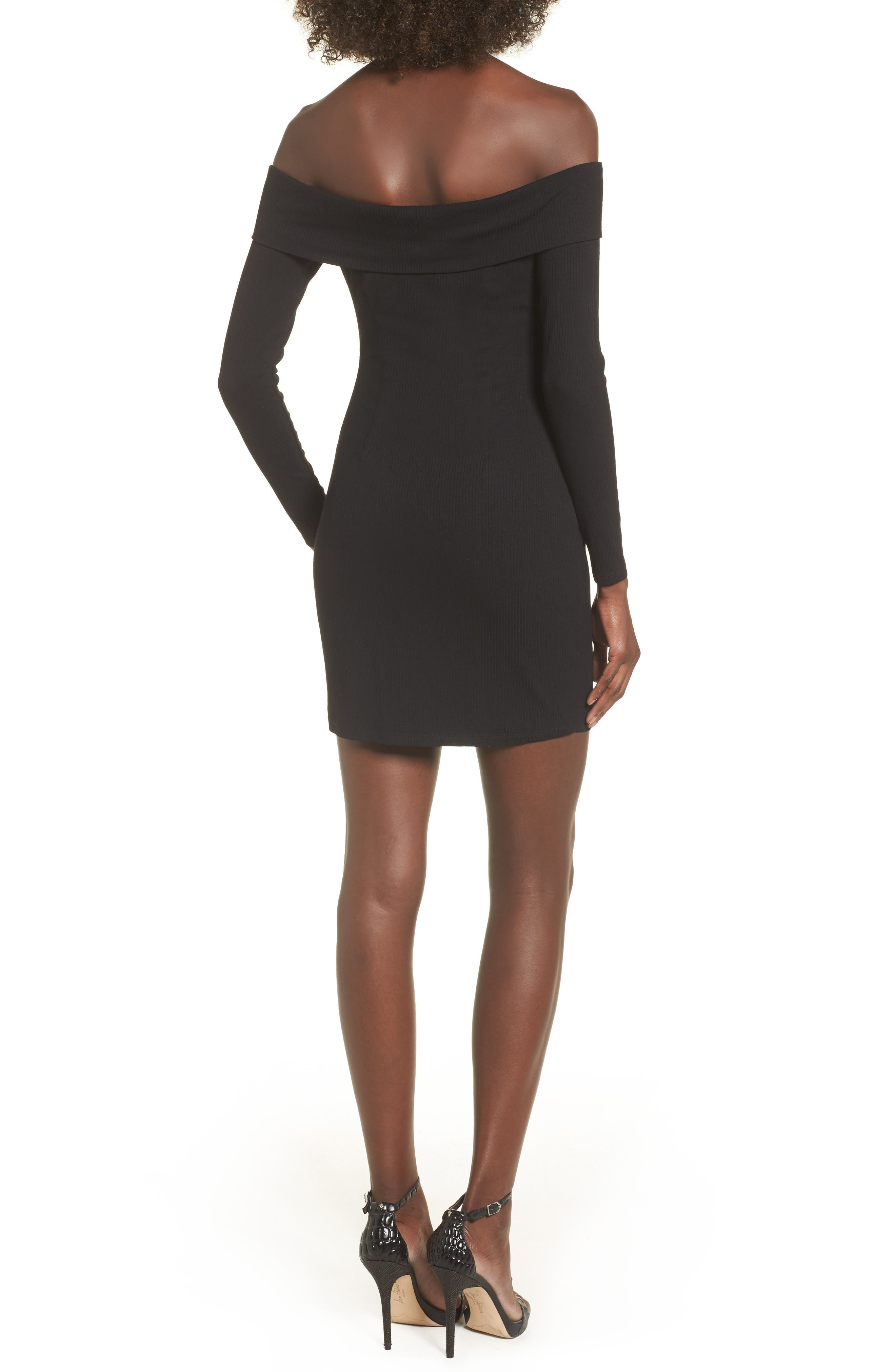 Silas Off the Shoulder Body-Con Dress,                             Alternate thumbnail 4, color,