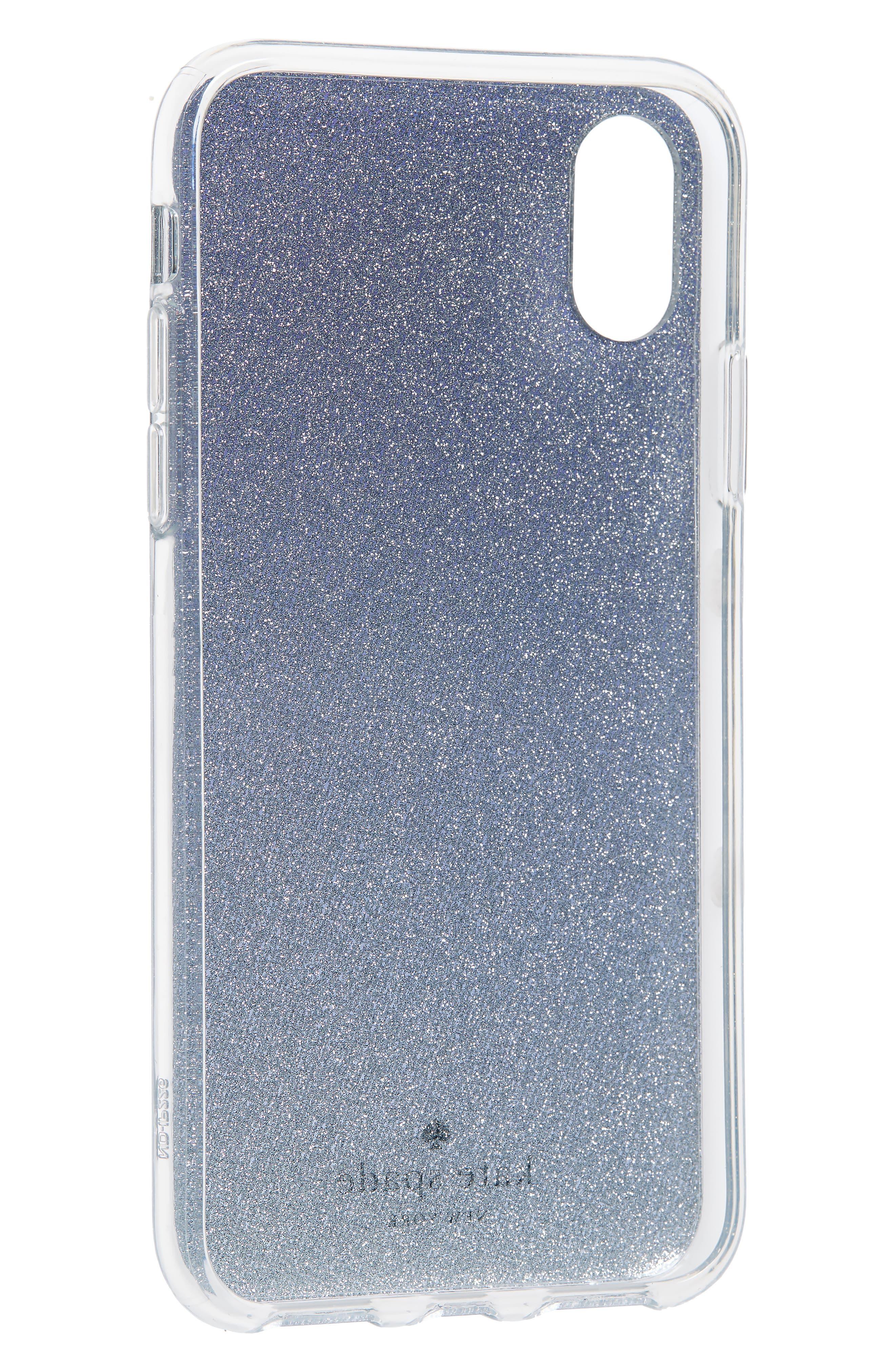 glitter ombré iPhone X/Xs case,                             Alternate thumbnail 2, color,                             BLUE MULTI