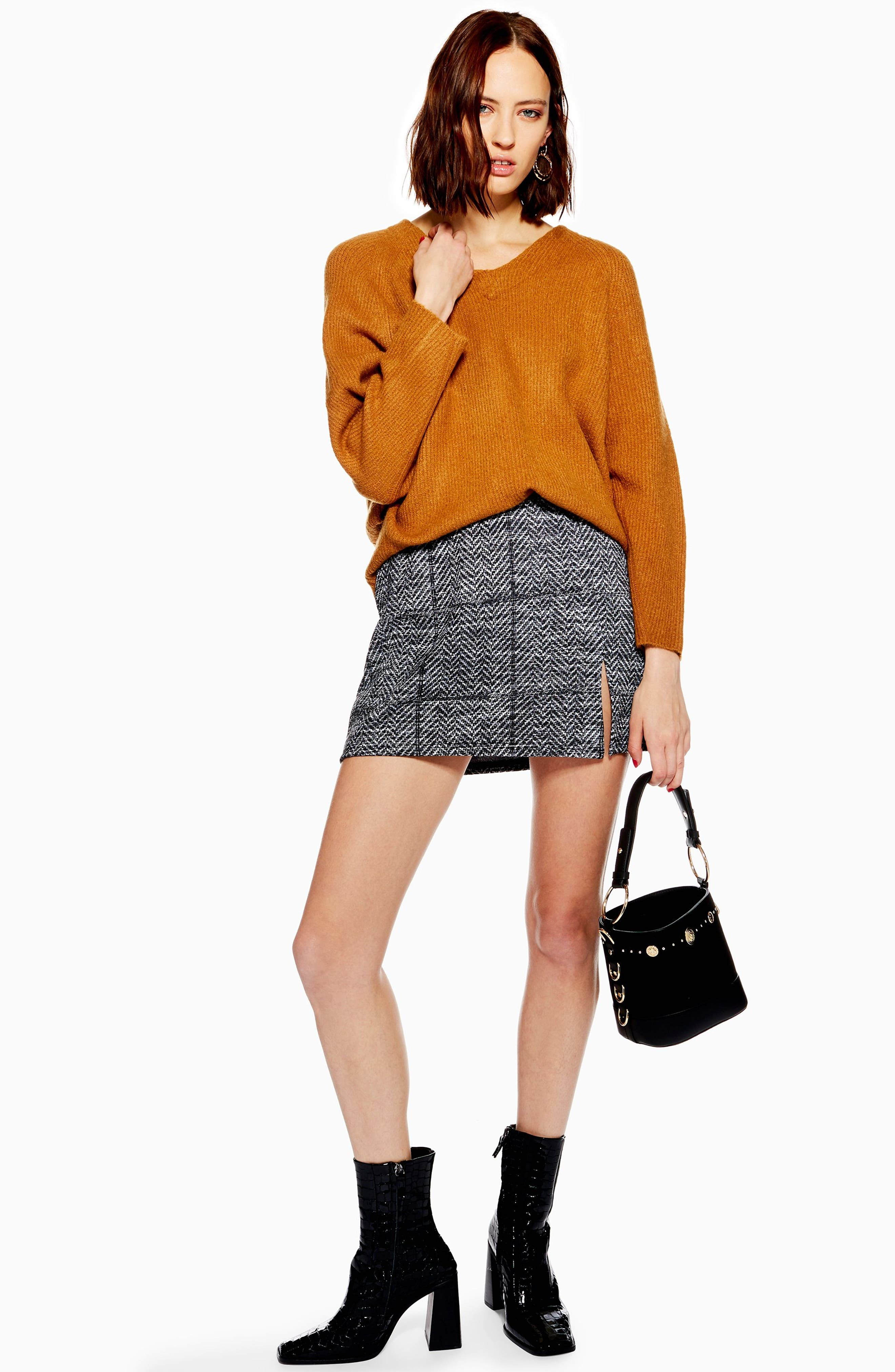 Herringbone Miniskirt,                             Alternate thumbnail 4, color,                             020
