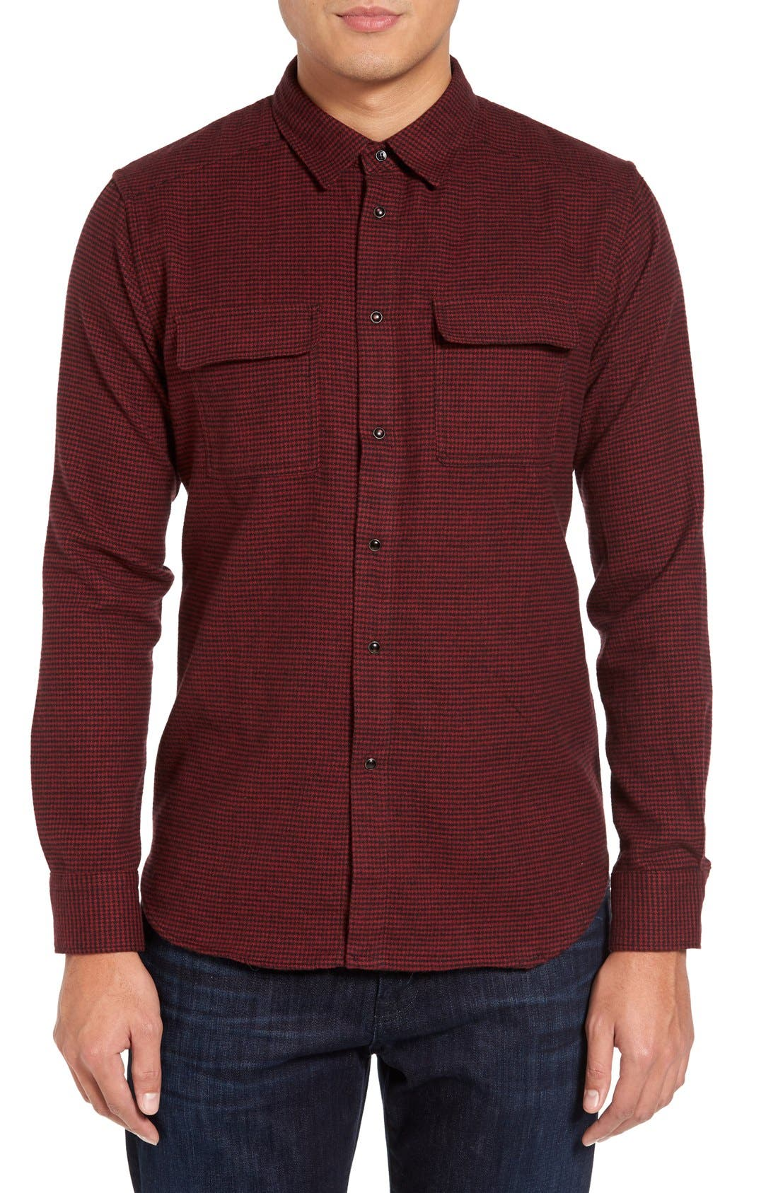 Parker Slim Fit Houndstooth Flannel Shirt,                         Main,                         color, 616