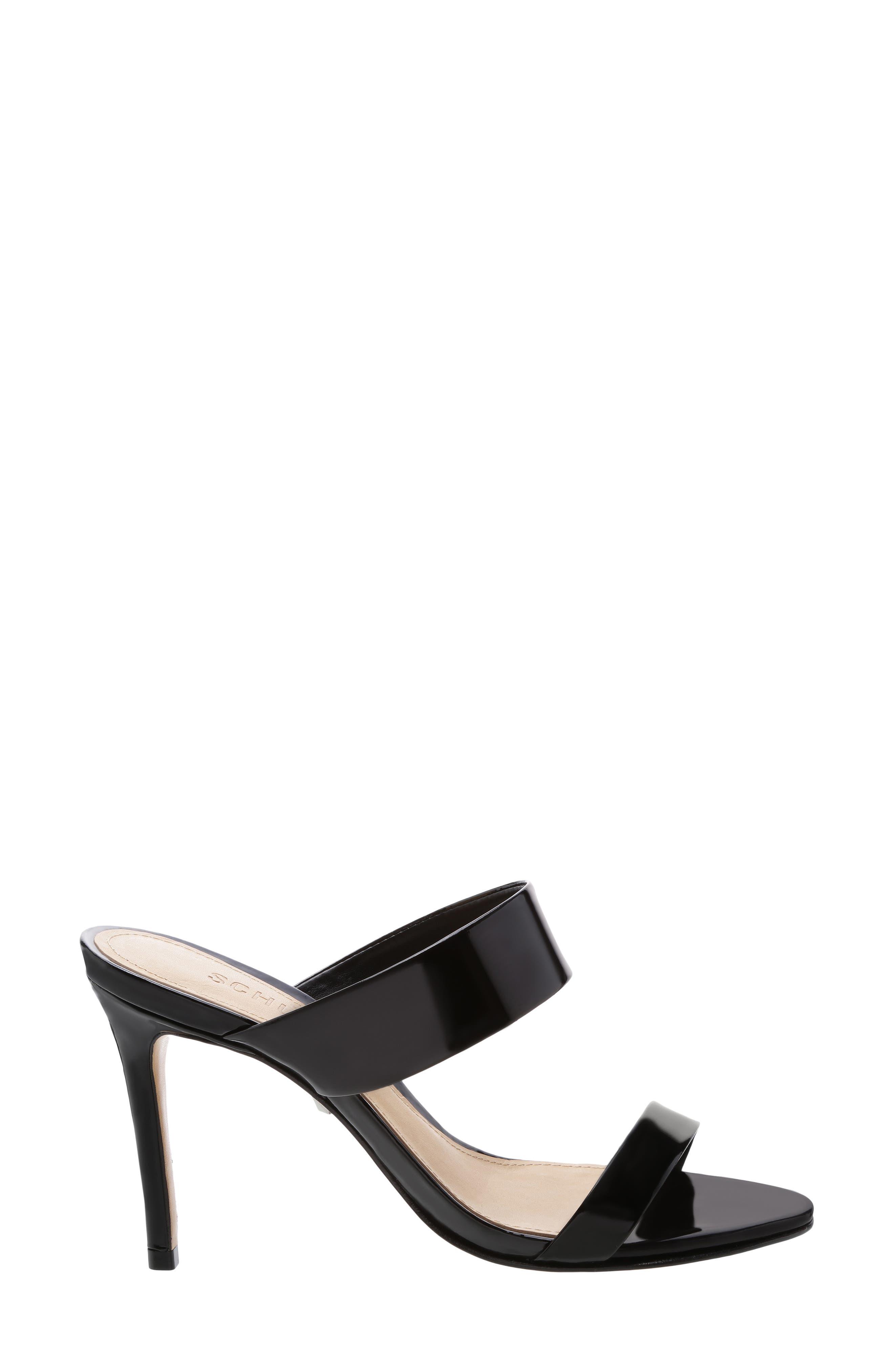 Stiletto Slide Sandal,                             Alternate thumbnail 3, color,                             BLACK PATENT LEATHER