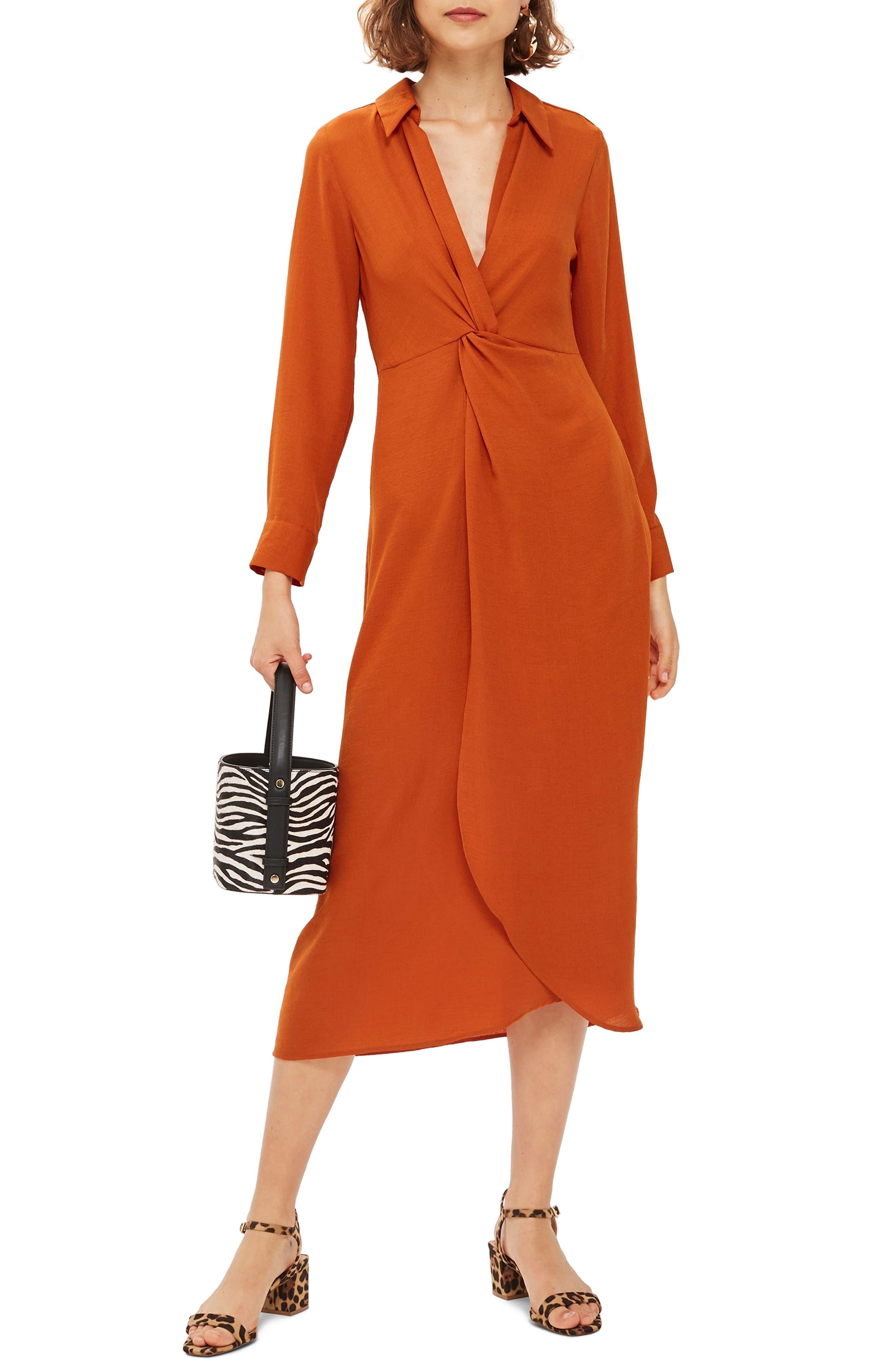 Topshop Twist Front Midi Dress, US (fits like 0) - Brown