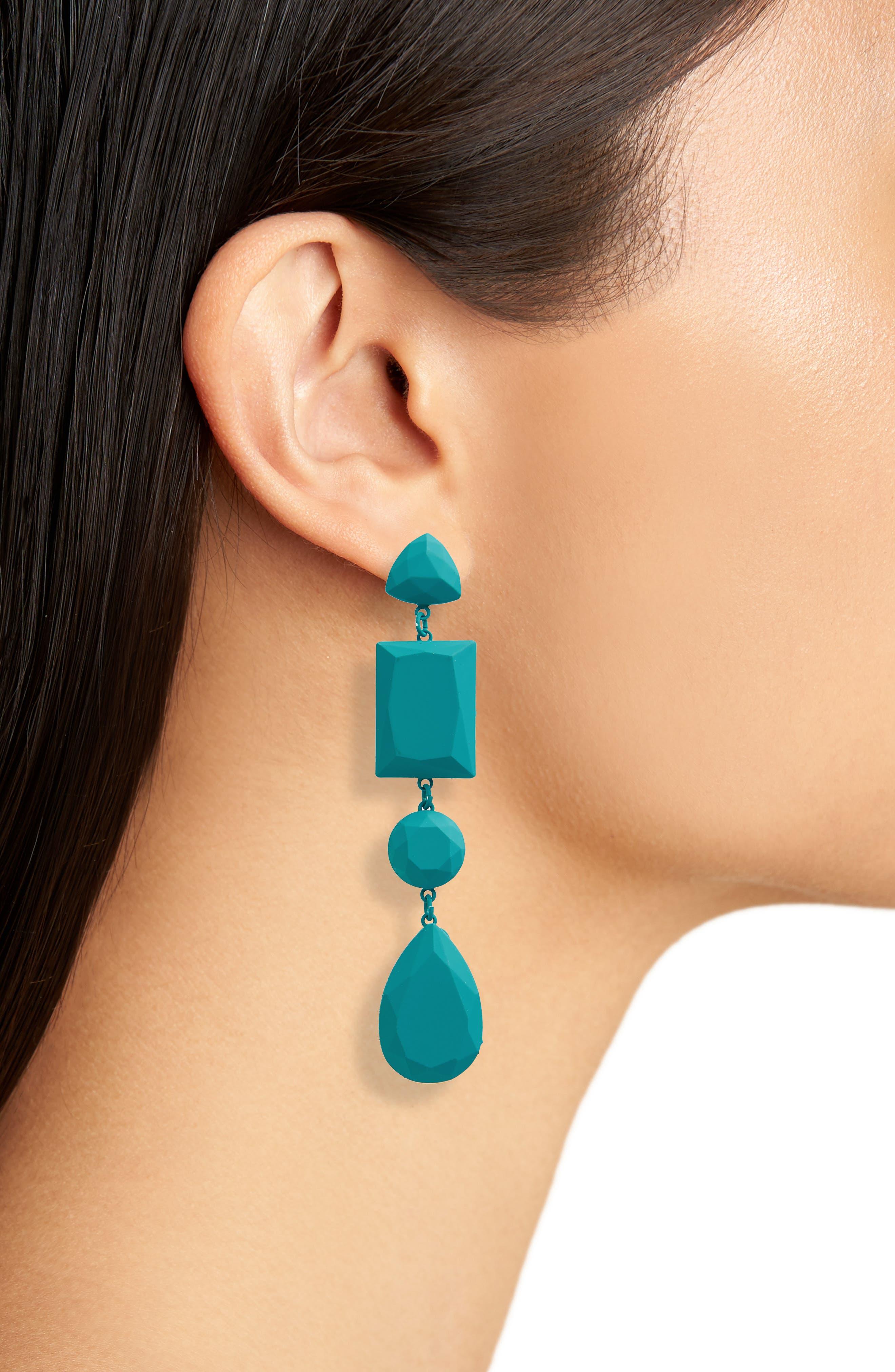 Geometric Drop Earrings,                             Alternate thumbnail 2, color,                             440