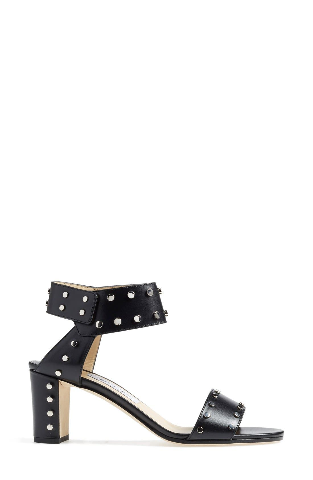 'Veto' Studded Sandal,                             Alternate thumbnail 4, color,                             001